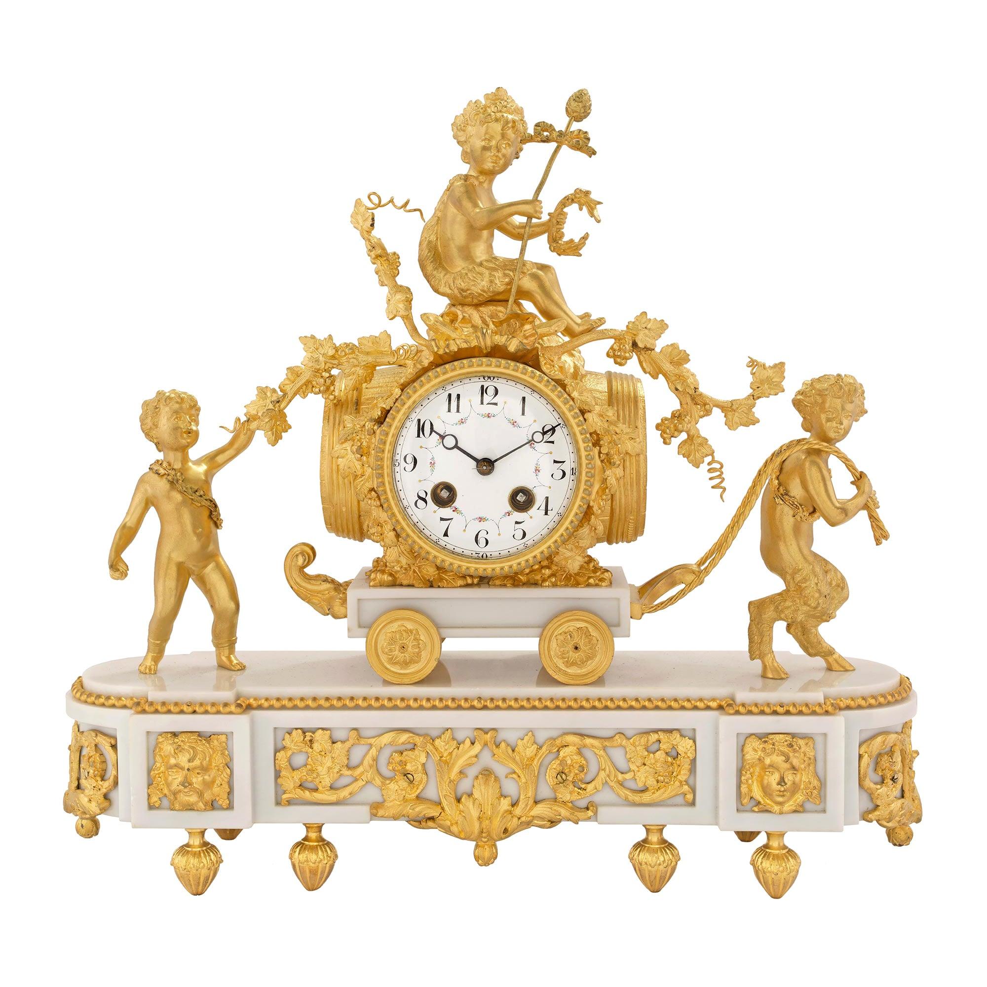 French 19th Century Louis XVI Style White Carrara Marble and Ormolu Clock