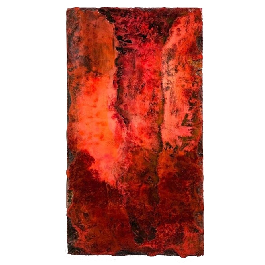 """21st Century Wall Sculpture """"MAGMA"""" by André Poli Resin Red Black Abstrac Decor"""
