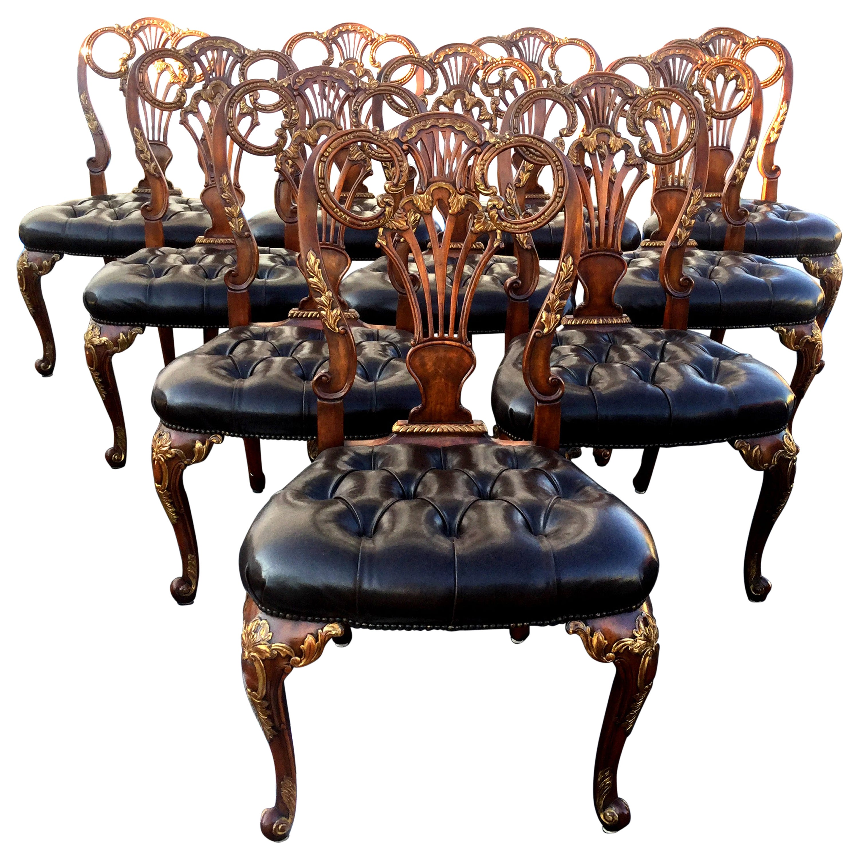 Set of 10 Theodore Alexander Dining Chairs