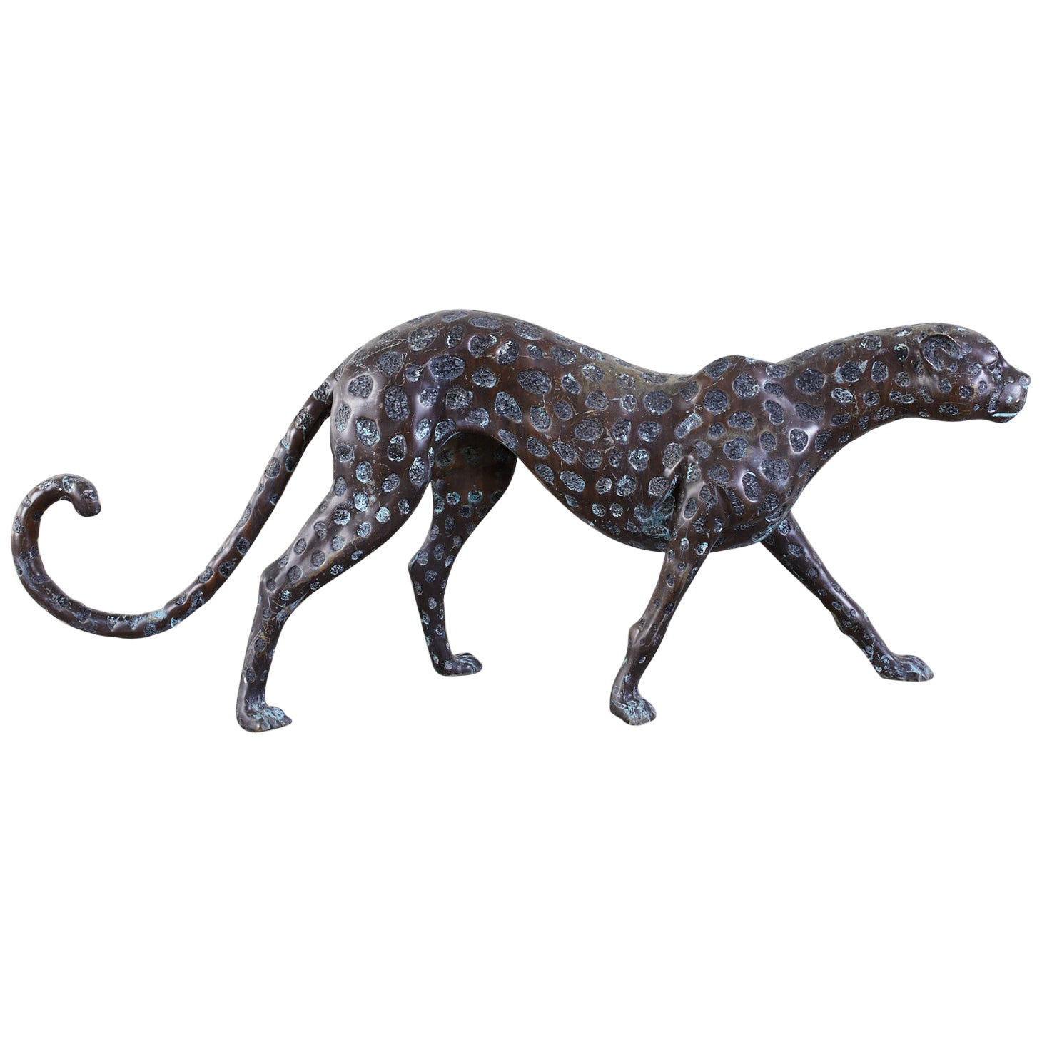 Hollywood Regency Style Patinated Bronze Cheetah Sculpture