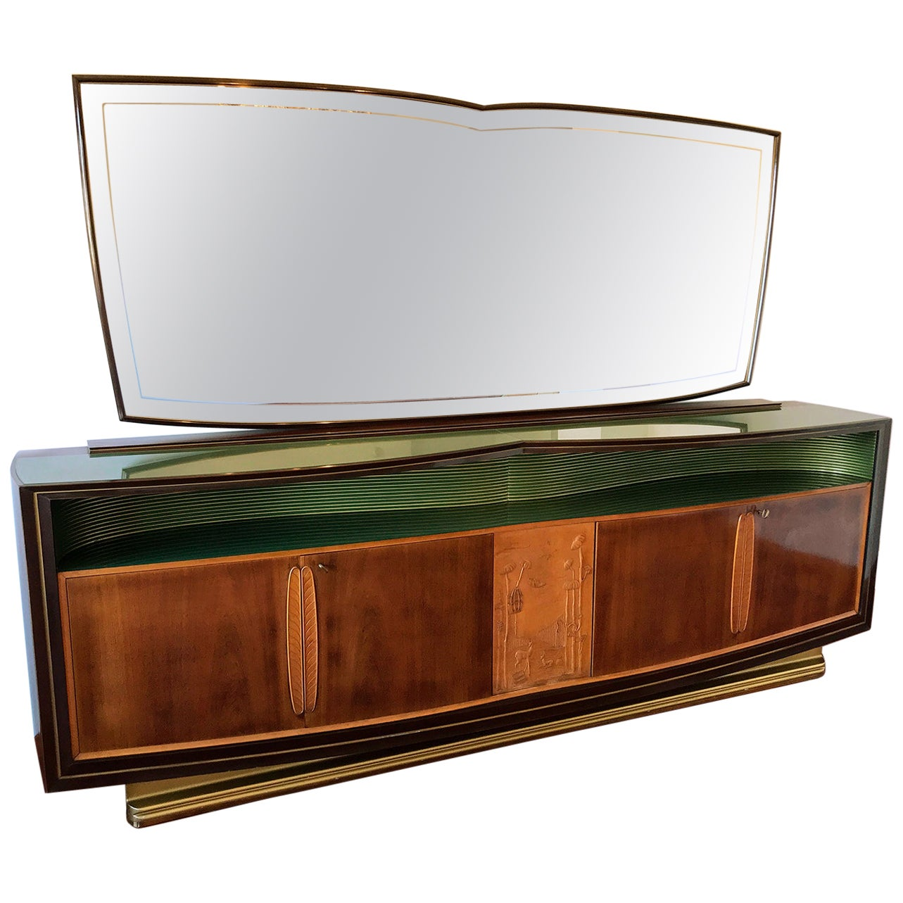 Italian Midcentury Walnut Long Sideboard with Mirror by Vittorio Dassi, 1950s