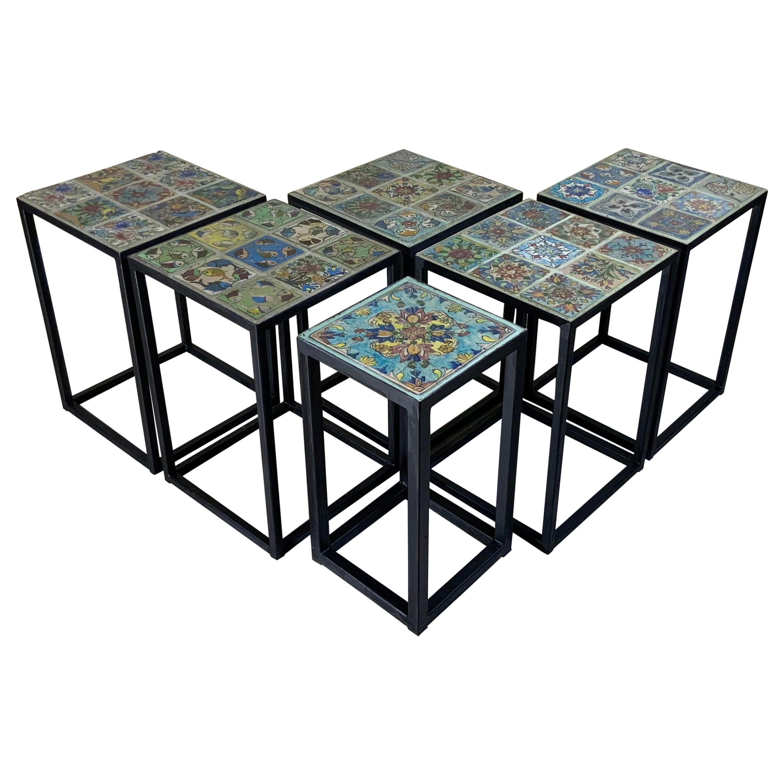 Set of Five Vintage Ceramic Square Tile Side Tables