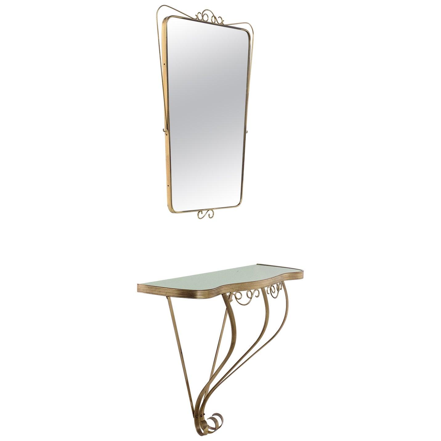 Italian Brass Mirror and Console, 1940s
