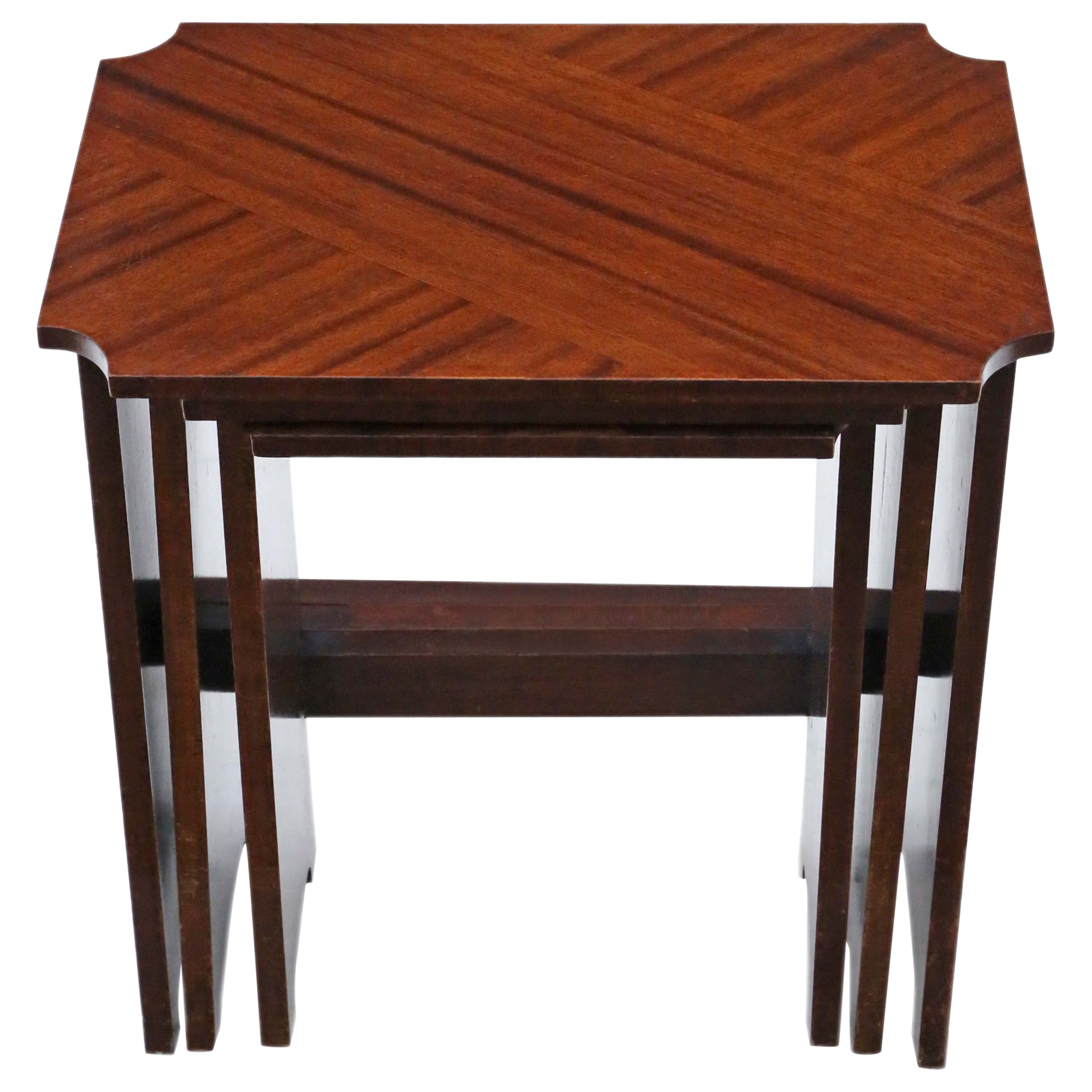 Antique Art Deco Nest of 3 Tables, Early 20th Century