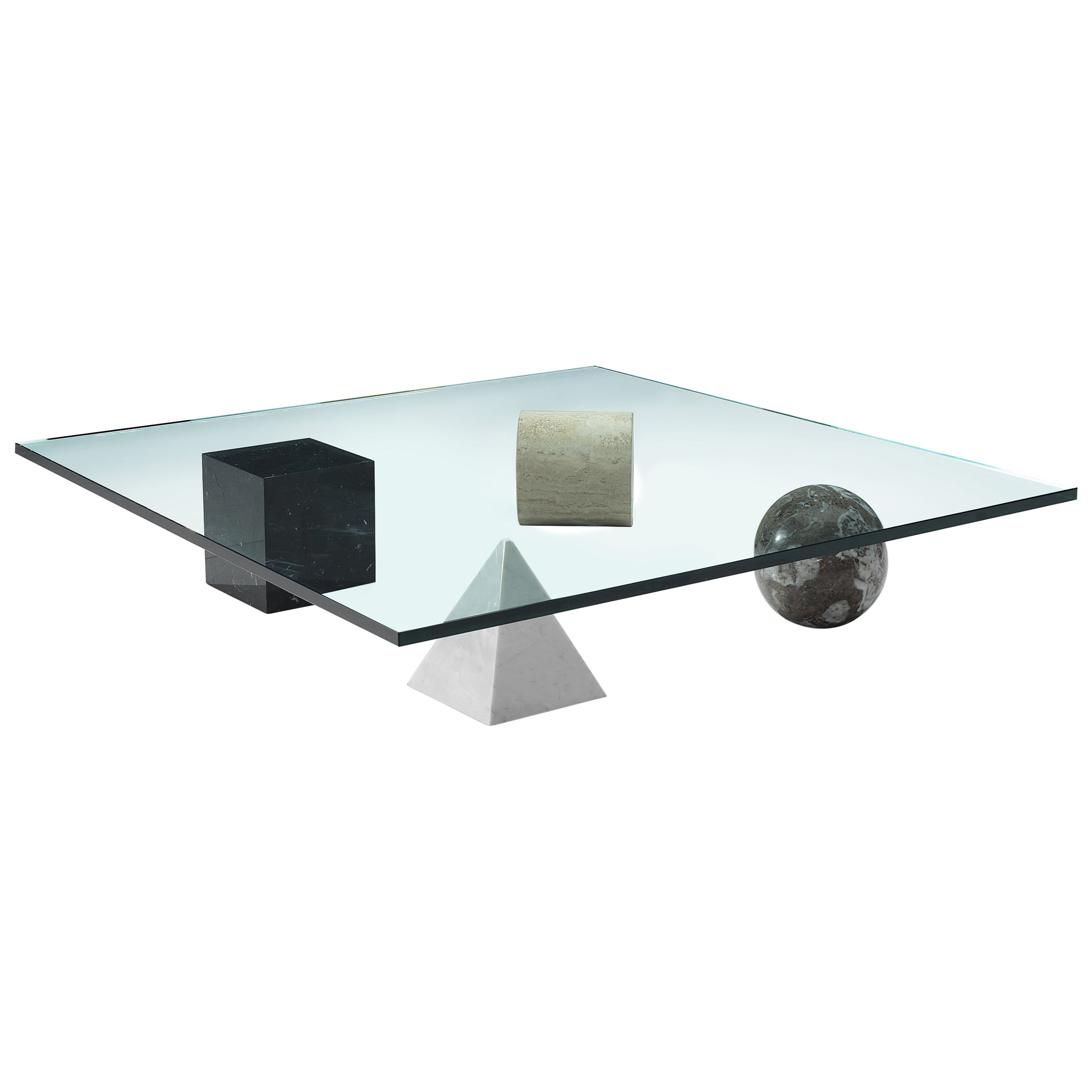 Lella and Massimo Vignelli Marble 'Metaphora' Coffee Table in Marble and Brass