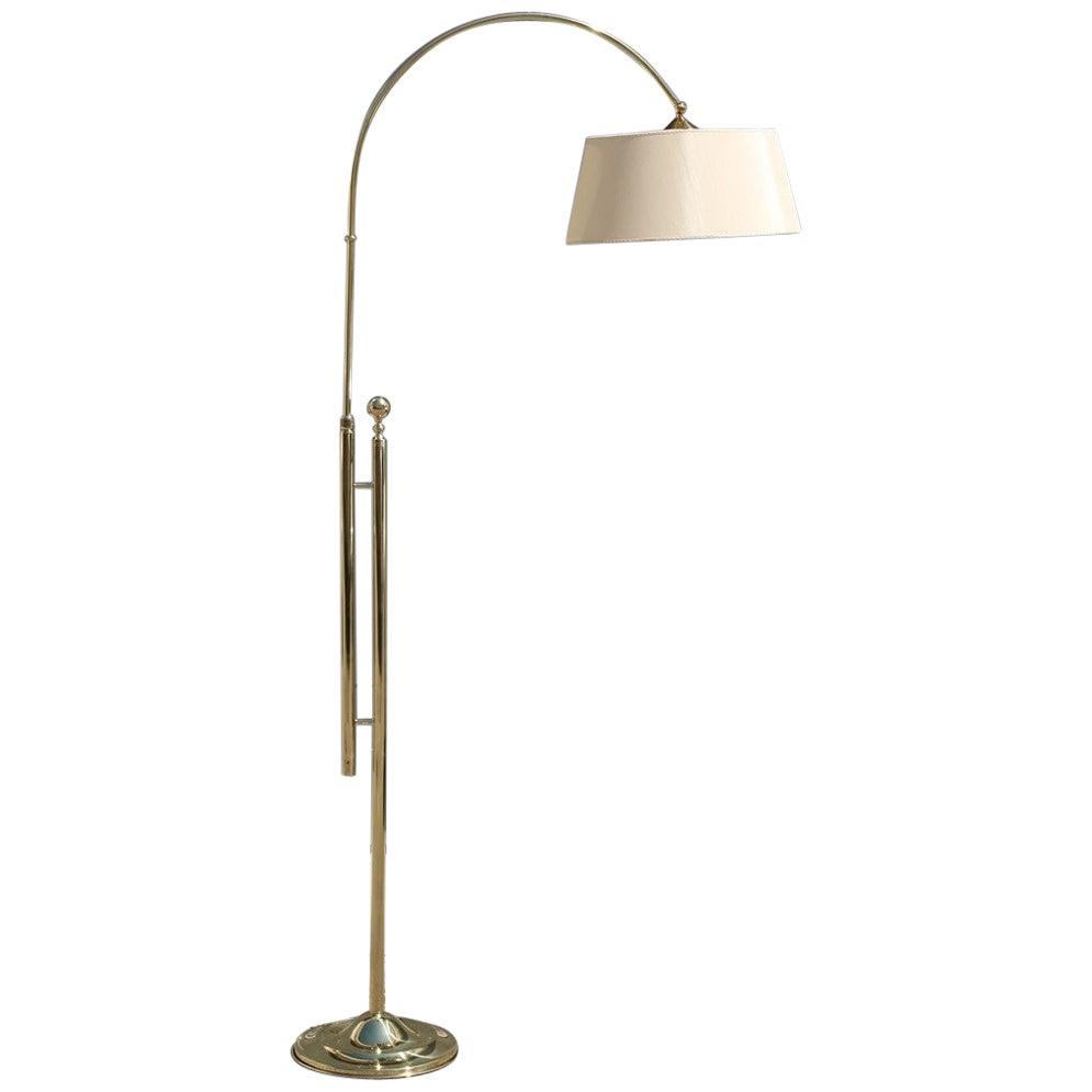 Italian Floor Lamp Solid Brass Midcentury Design Fabric Dome Gold