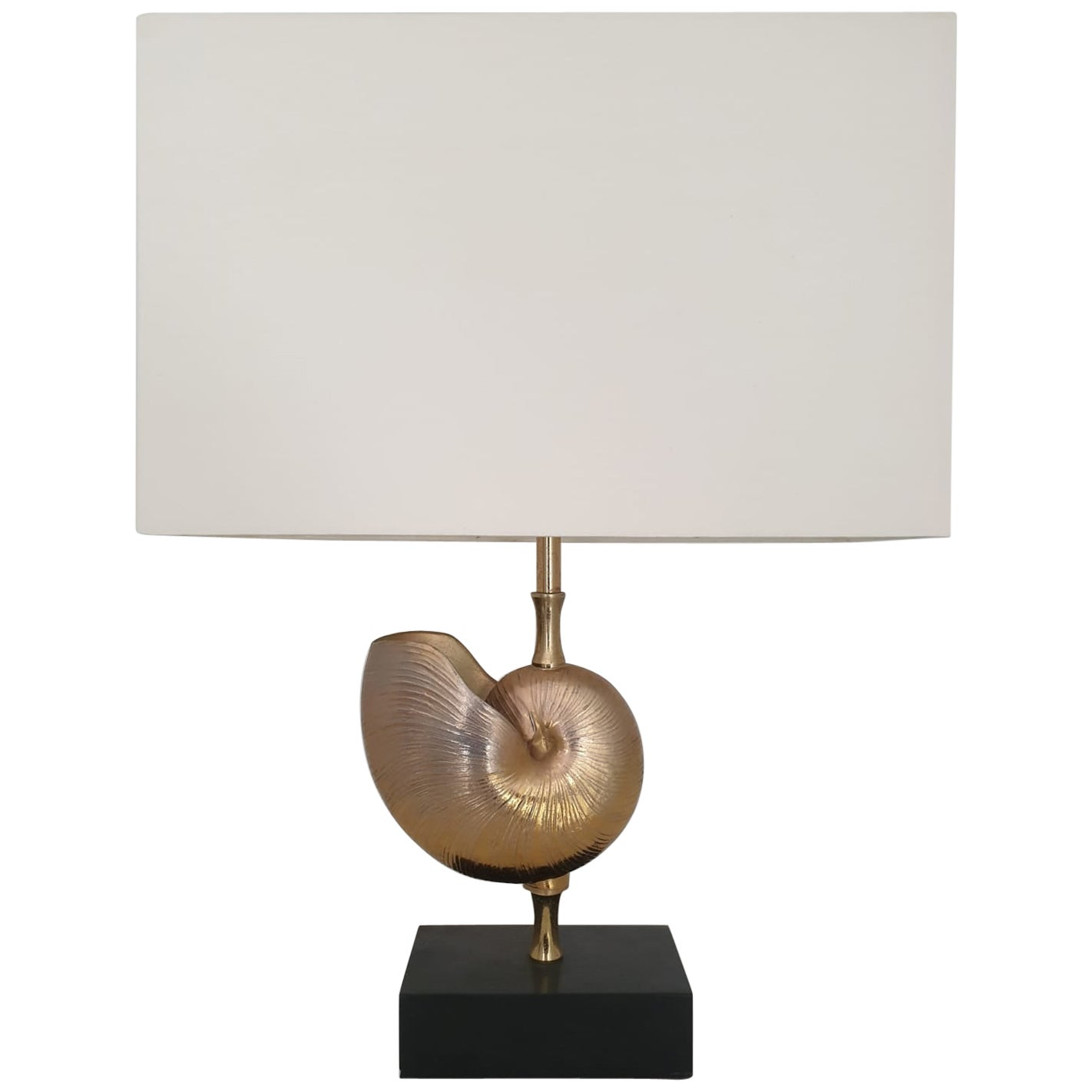 Mid-Century Modern Bronze Table Lamp Sitting on Marble Base
