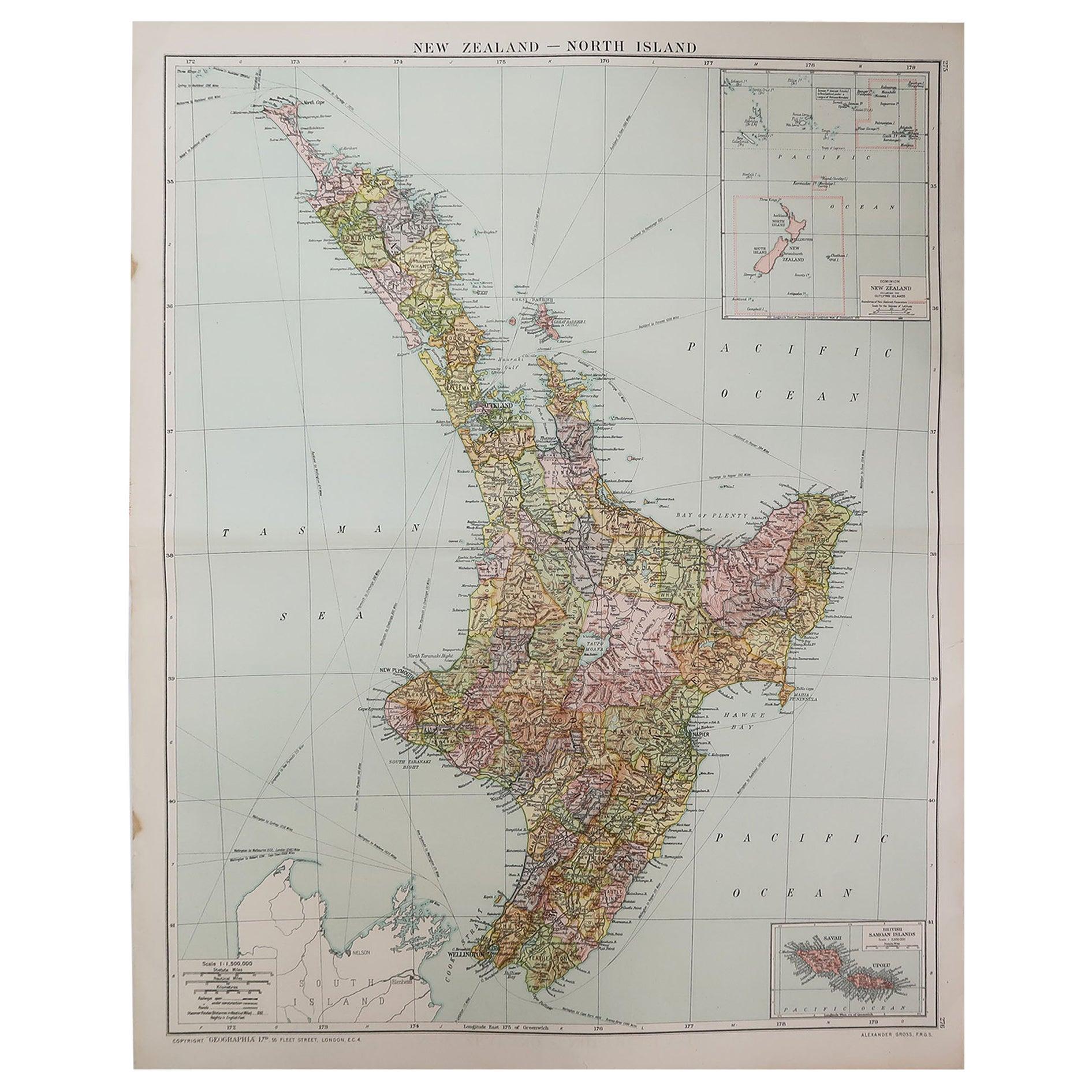 Large Original Vintage Map of New Zealand, North Island, circa 1920