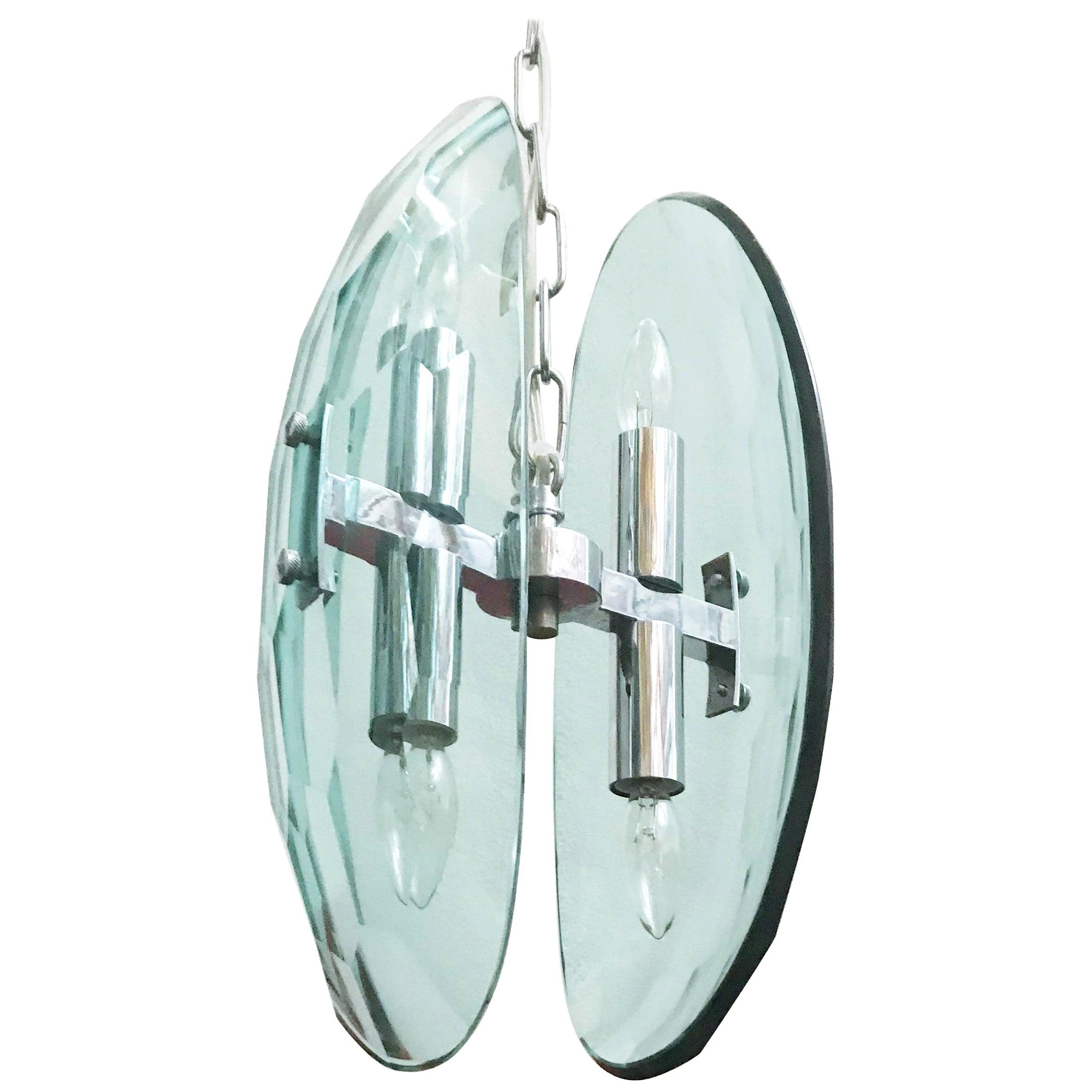 Vintage Italian Pendant w/ Beveled Glass by Cristal Arte, 1960s