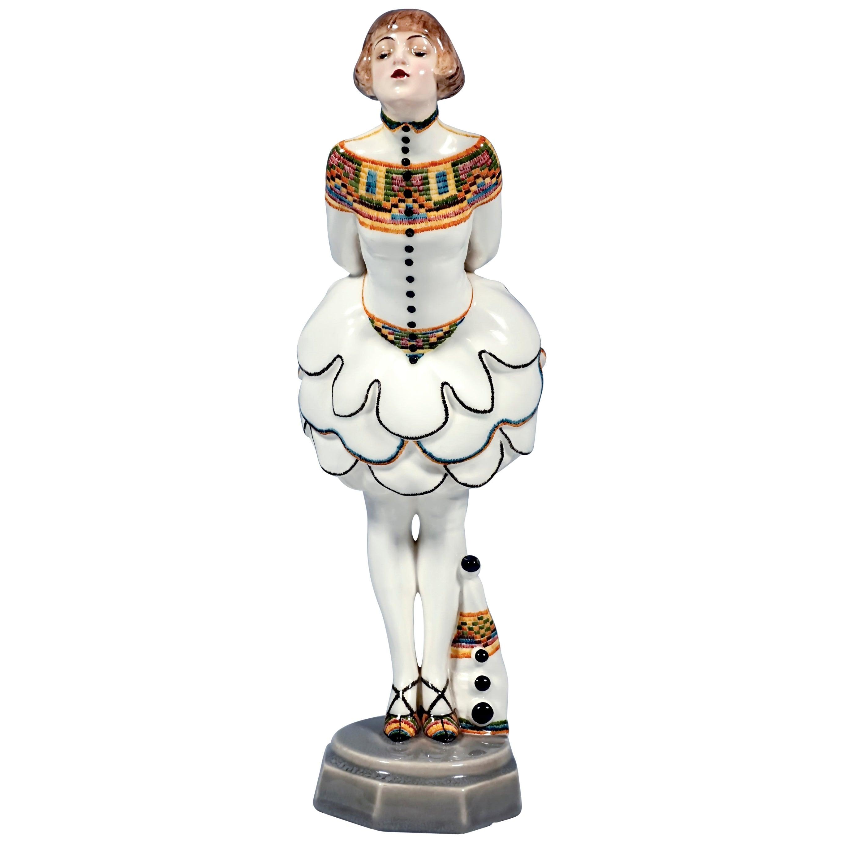 Goldscheider Figurine Pierrette With Balloon Skirt by Josef Lorenzl, ca 1925
