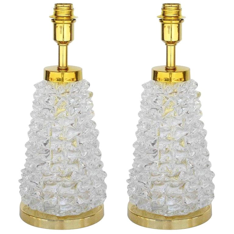 Pair of Rostrato Technique Table Lamps w/ Clear Murano Glass, Italy 1990s