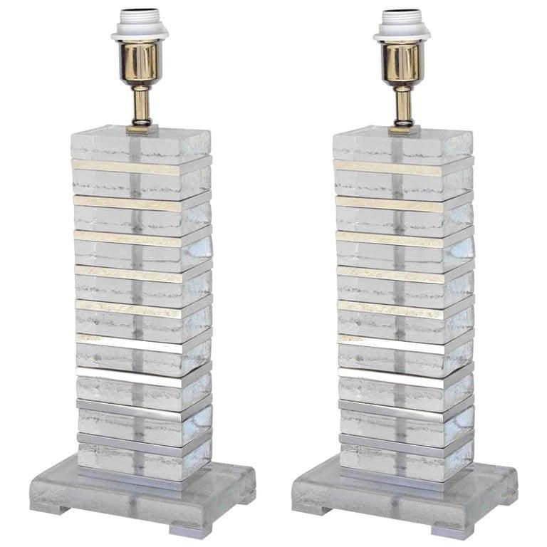 Pair of Italian Table Lamps w/ Clear Murano Glass Blocks, 1990s.