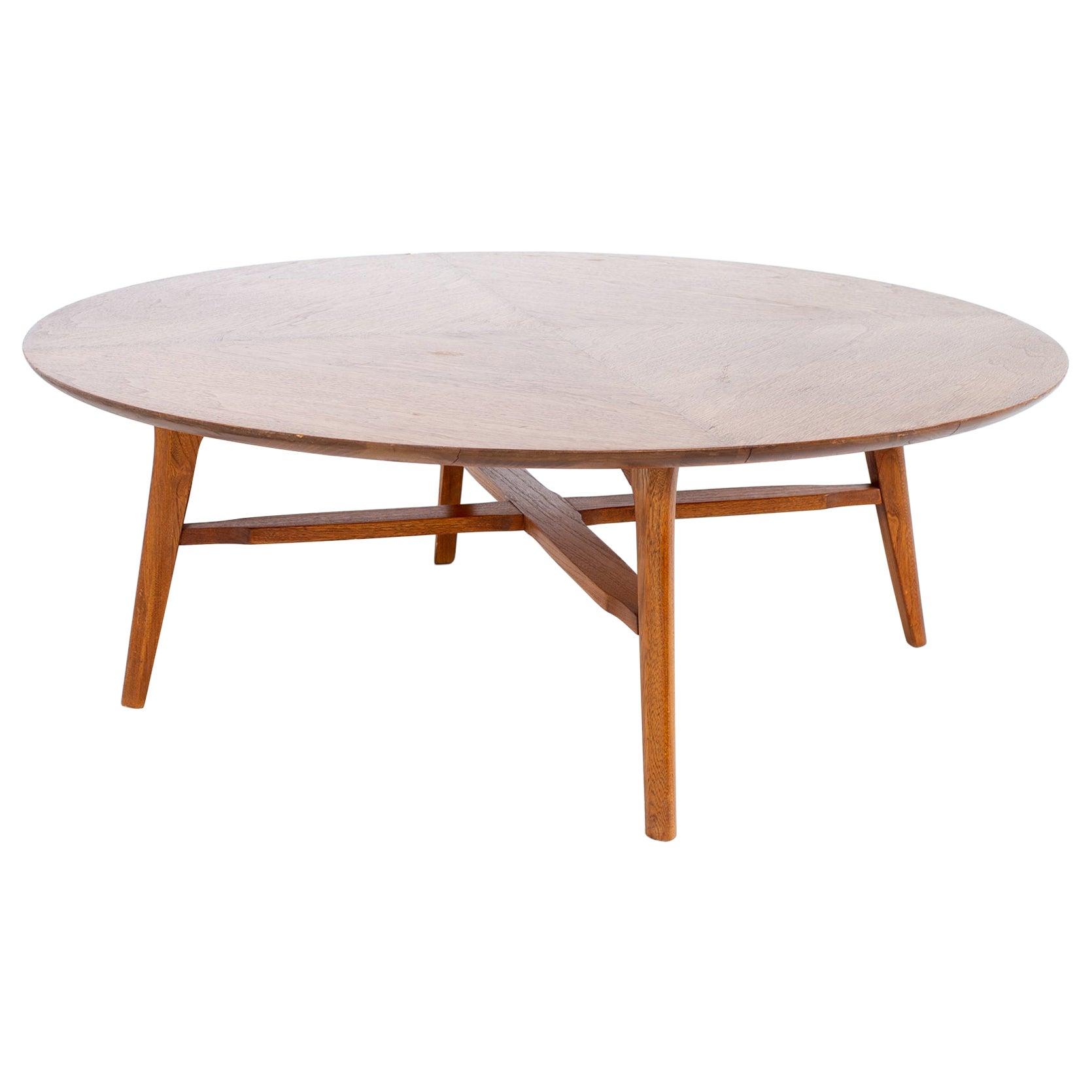 Merton Gershun American Martinsville Style MCM X-Base Round Walnut Coffee Table