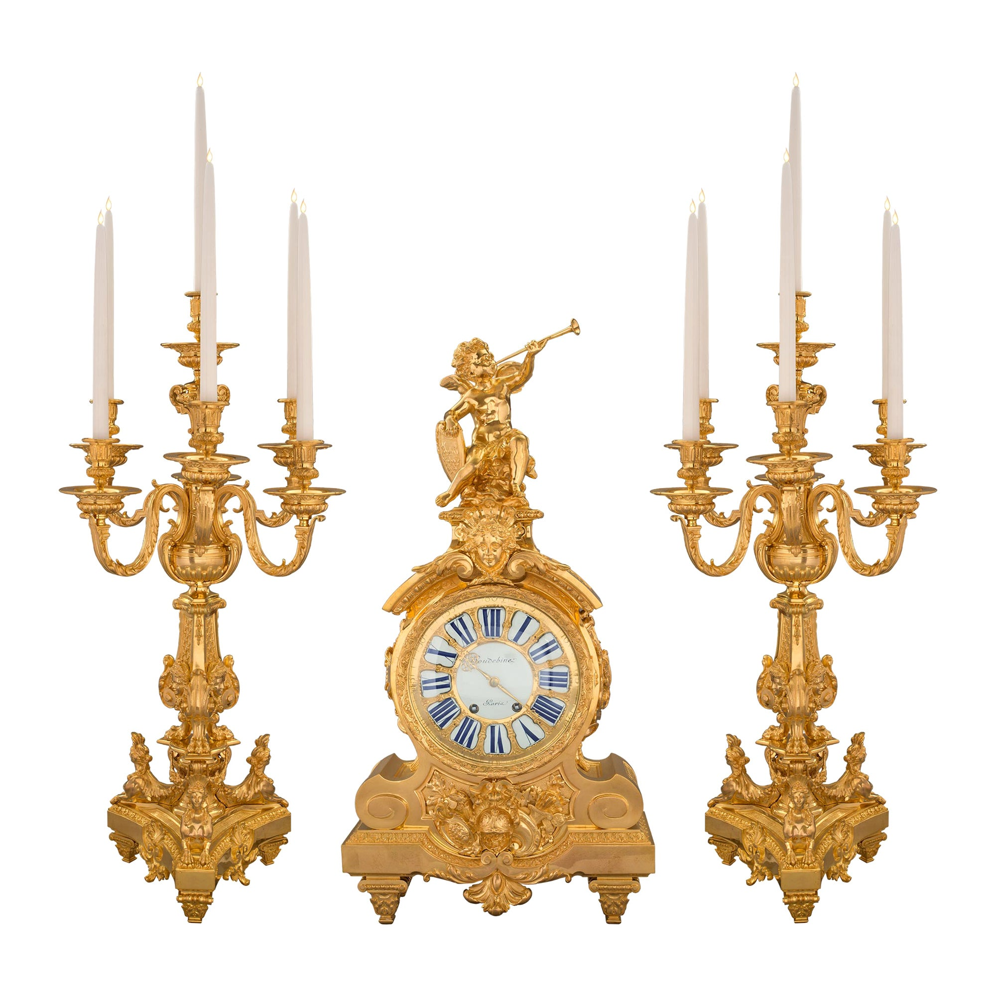 French 19th Century Louis XIV Style Ormolu Three-Piece Garniture Set