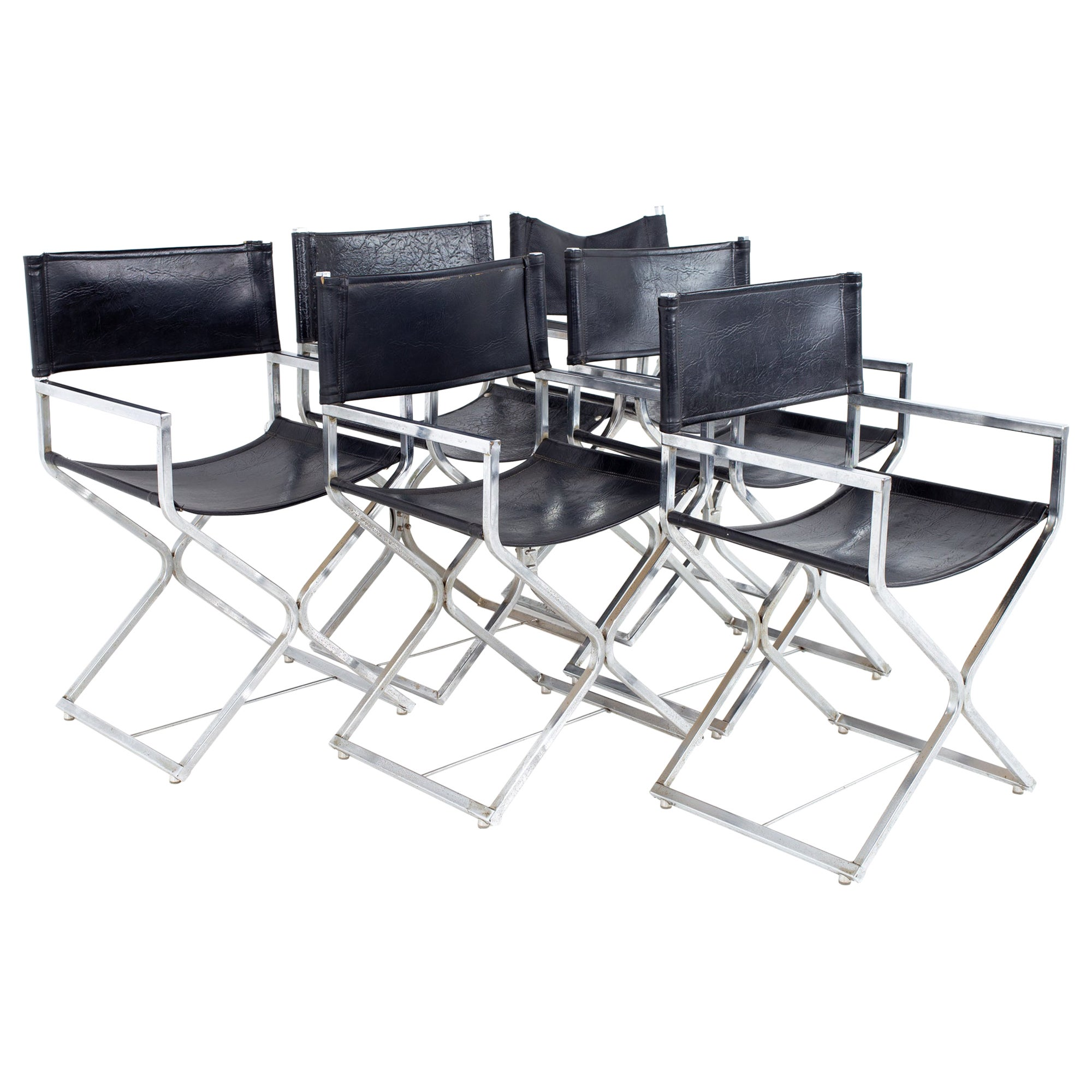Alessandro Albrizzi Style MCM Naugahyde and Chrome Directors Chairs - Set of 6