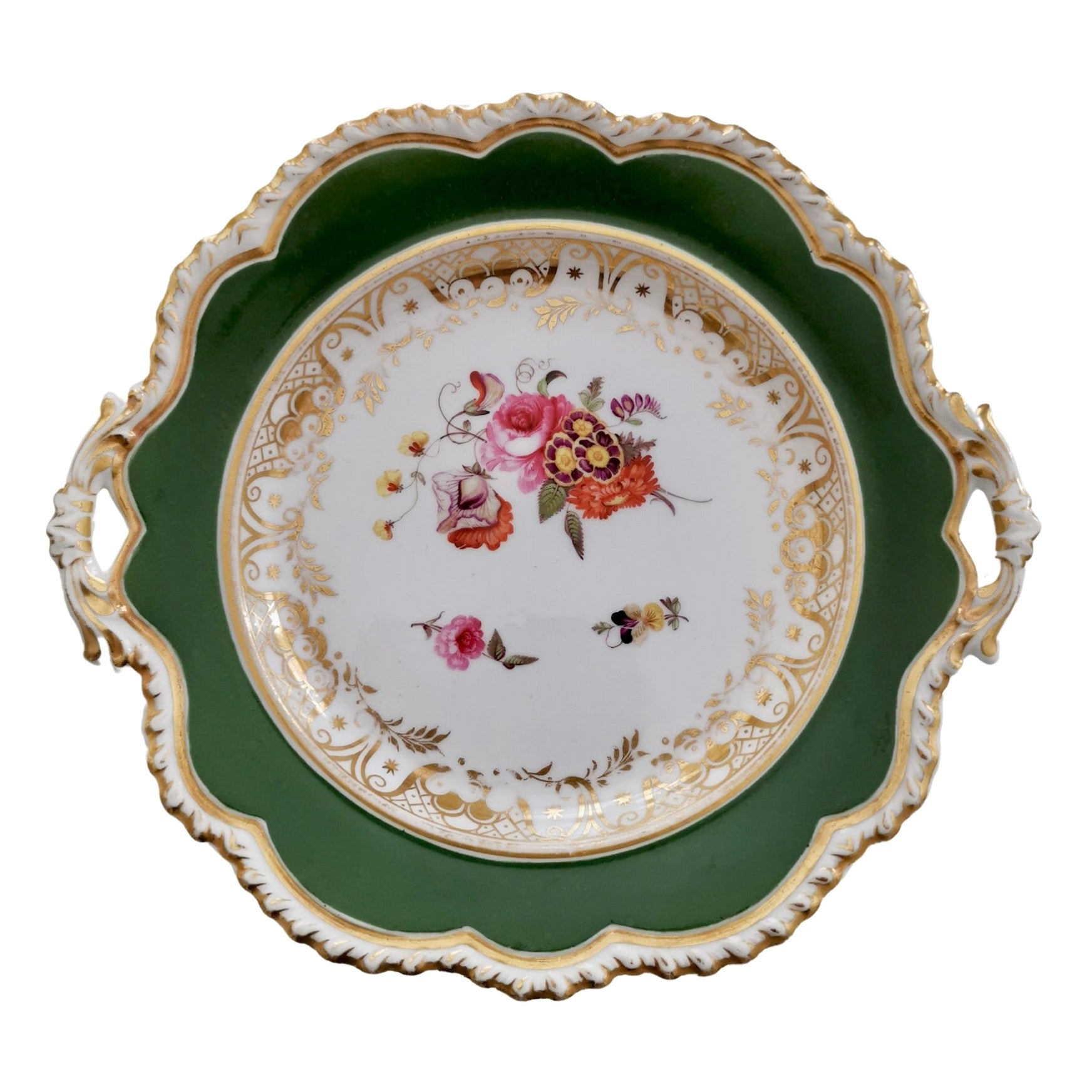 Ridgway Porcelain Plate, Green with Hand Painted Flowers, Regency, ca 1825