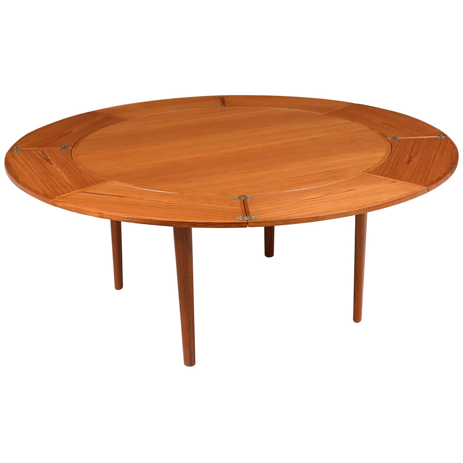 "Danish Modern ""Flip-Flap"" Expanding Teak Dining Table by Dyrlund"