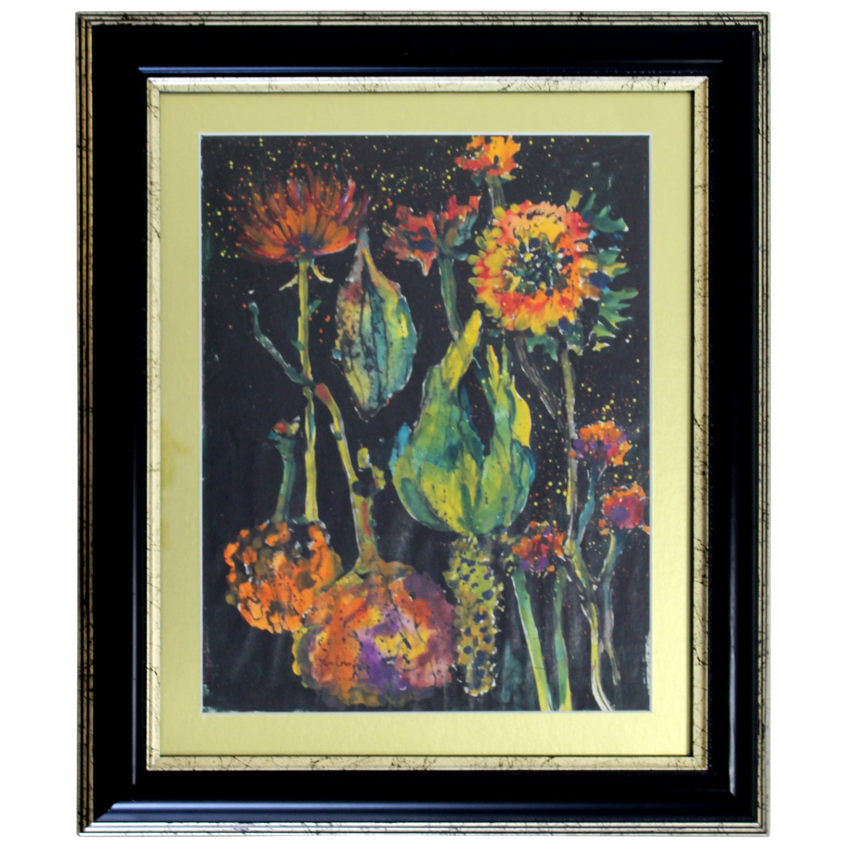 Contemporary John Loree Signed Framed Mixed Media Watercolor Still Life Painting