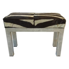1970s Small Zebra Skin Chrome Bench