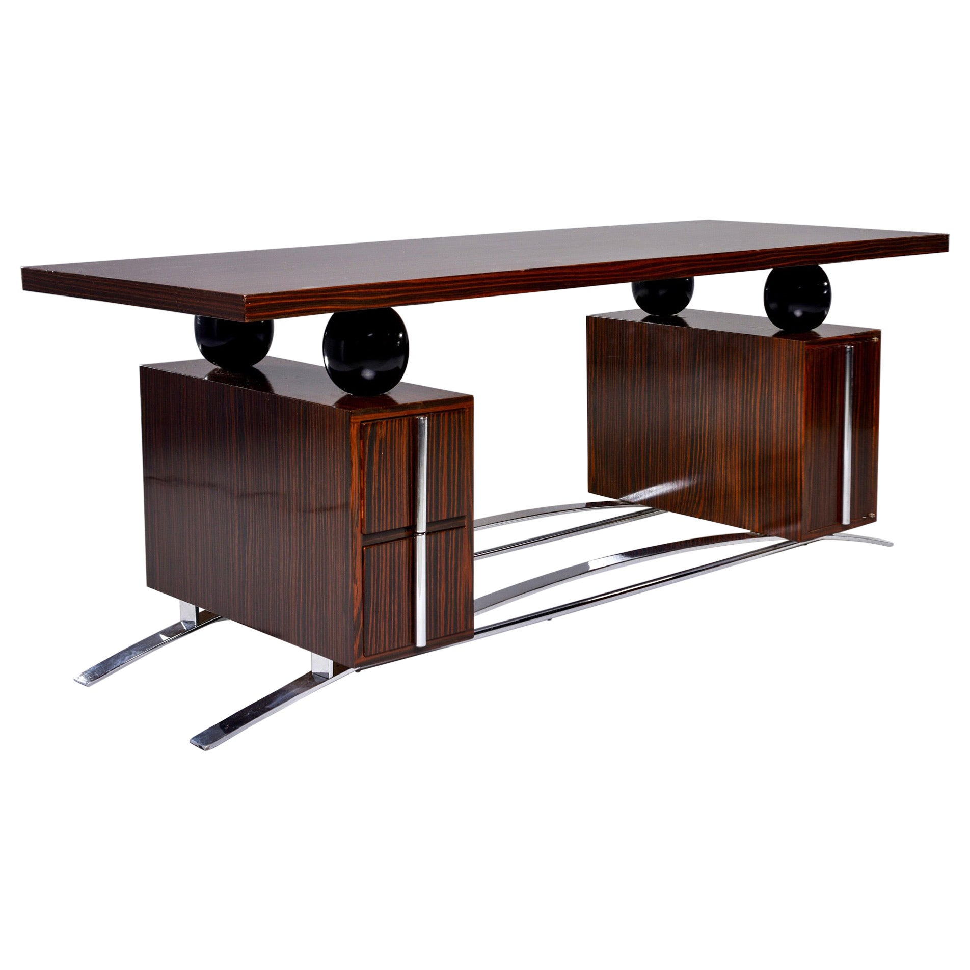 French Modernist Macassar Ebony Desk with Polished Nickel Base and Hardware