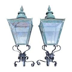 Pair Large 19th Century English Copper Lanterns with 20th Century Iron Brackets