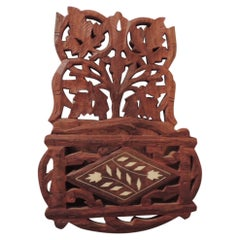 Petite Wood Carved Vintage Wall Shelf with Inlaid Camel Bone Details