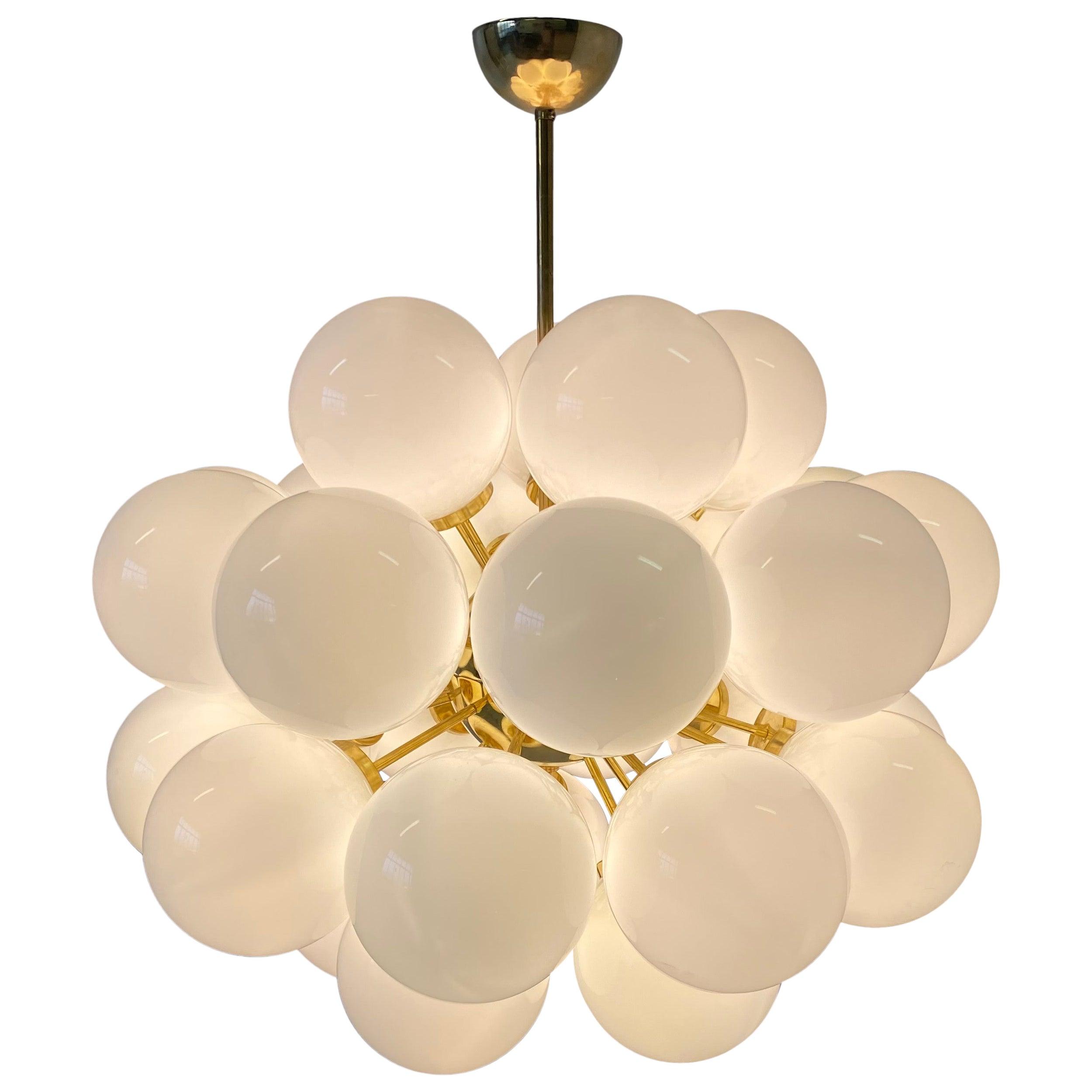 Mid-Century Modern Brass and White Murano Glass Spheres Chandelier