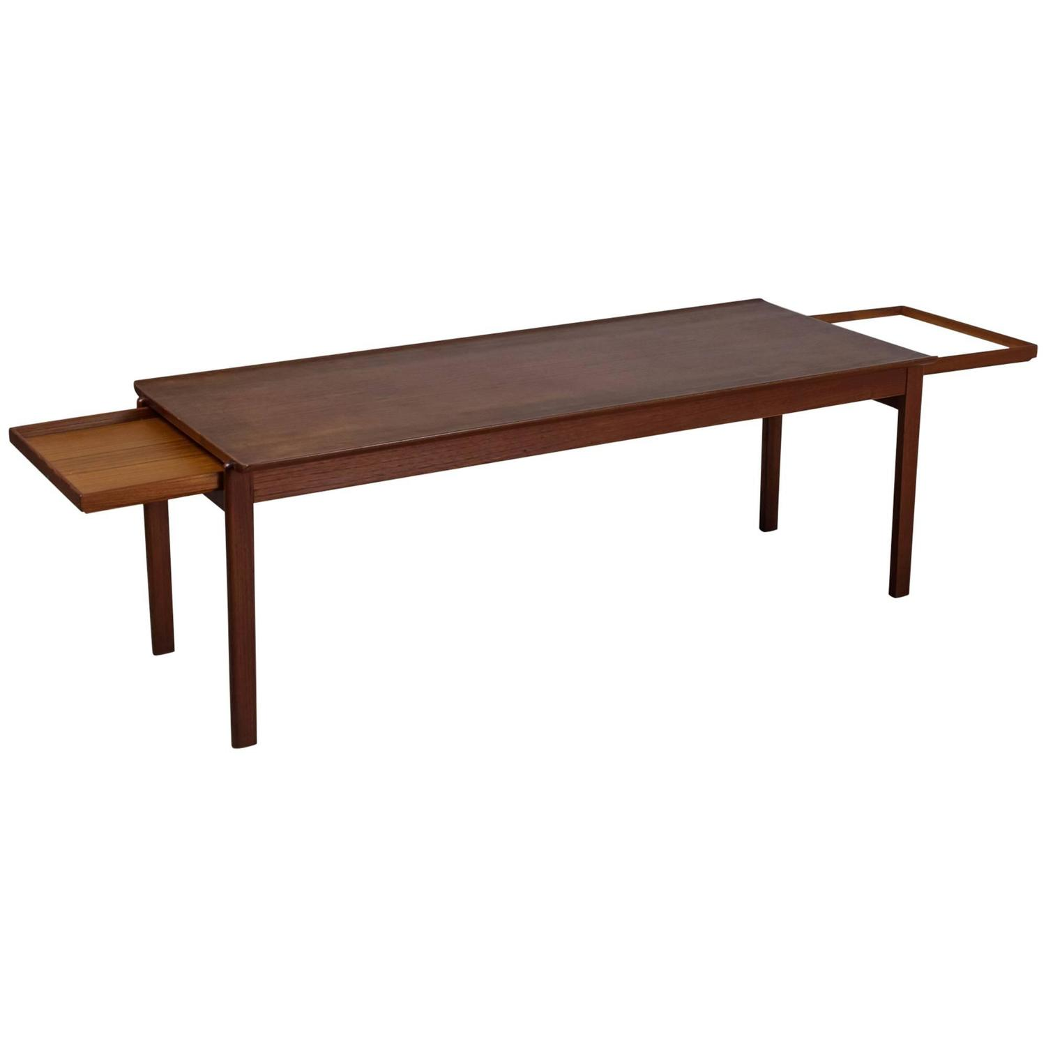 Johannes Andersen Coffee Table With Pull Out Shelves Denmark 1960s For Sale At 1stdibs