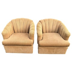 Pair of Channel Back Swivel Chairs