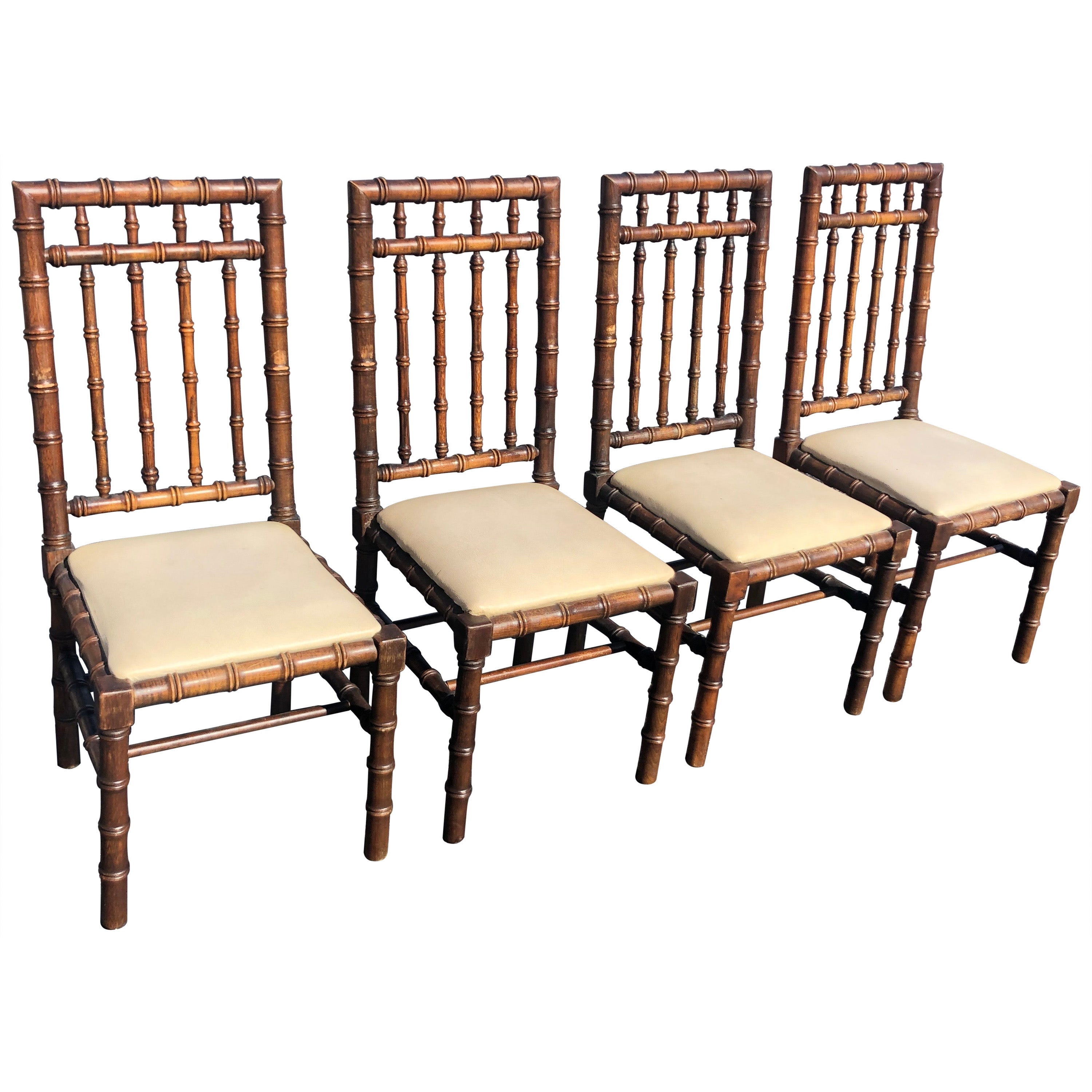 Set of Four Mid Century Faux Bamboo Chairs