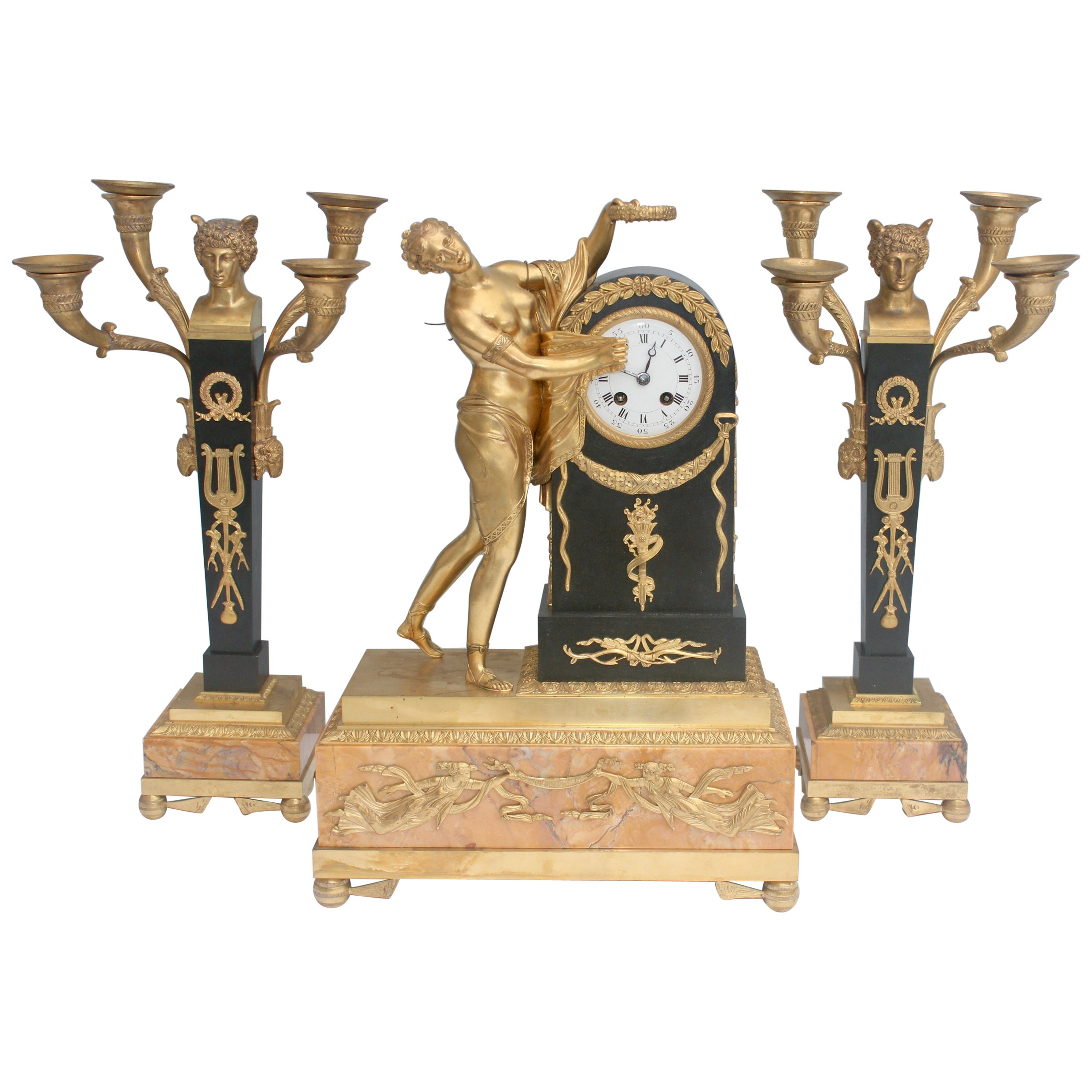 19th French Empire Ormolu and Patinated Bronze Three-Piece Clock Garniture