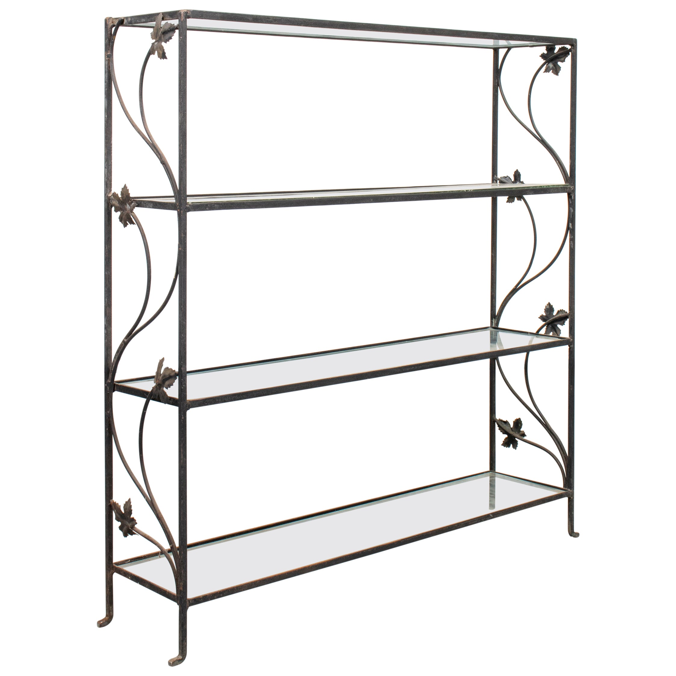Modern Wrought Iron Four Tier Etagere with Glass Shelves