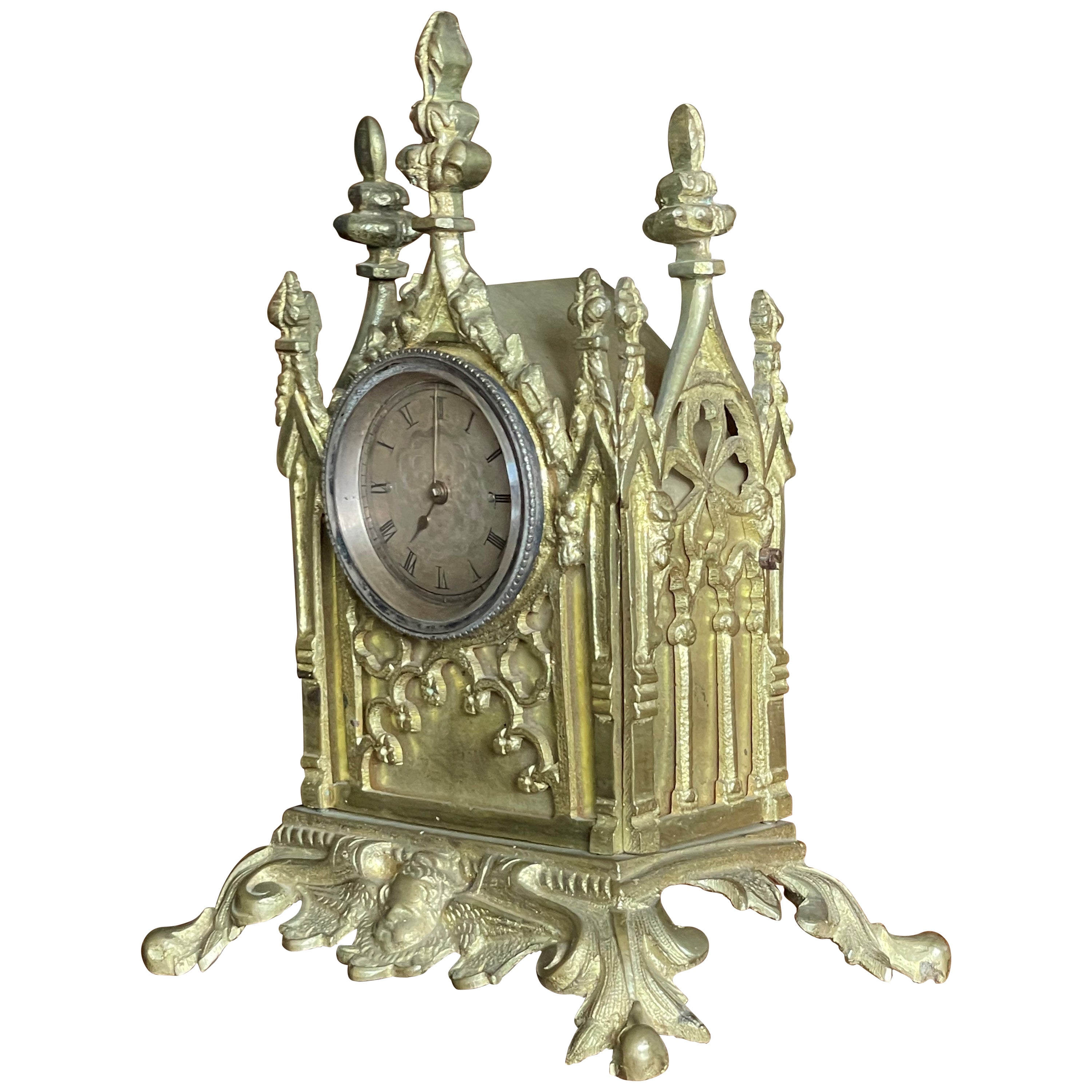 Gothic Table Clock w. Stunning Antique Pocket Watch Made of Gilt Bronze or Gold