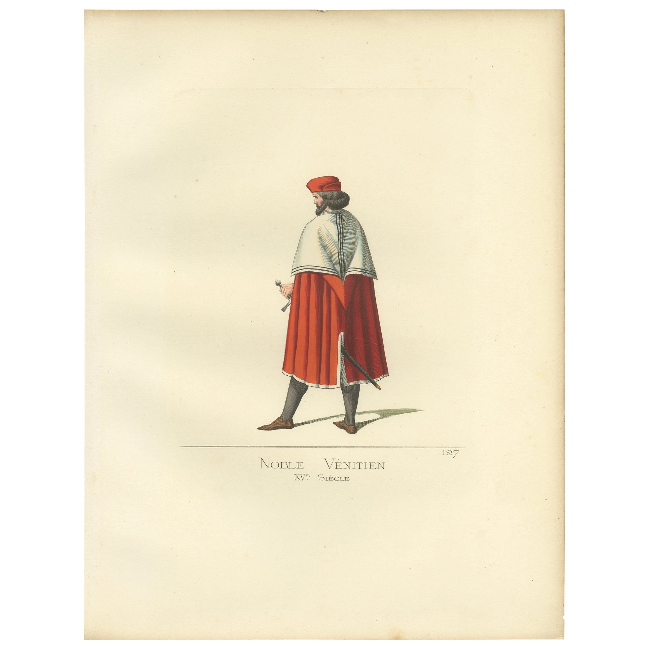 Antique Print of a Venetian Nobleman, Italy, 15th Century, by Bonnard, 1860