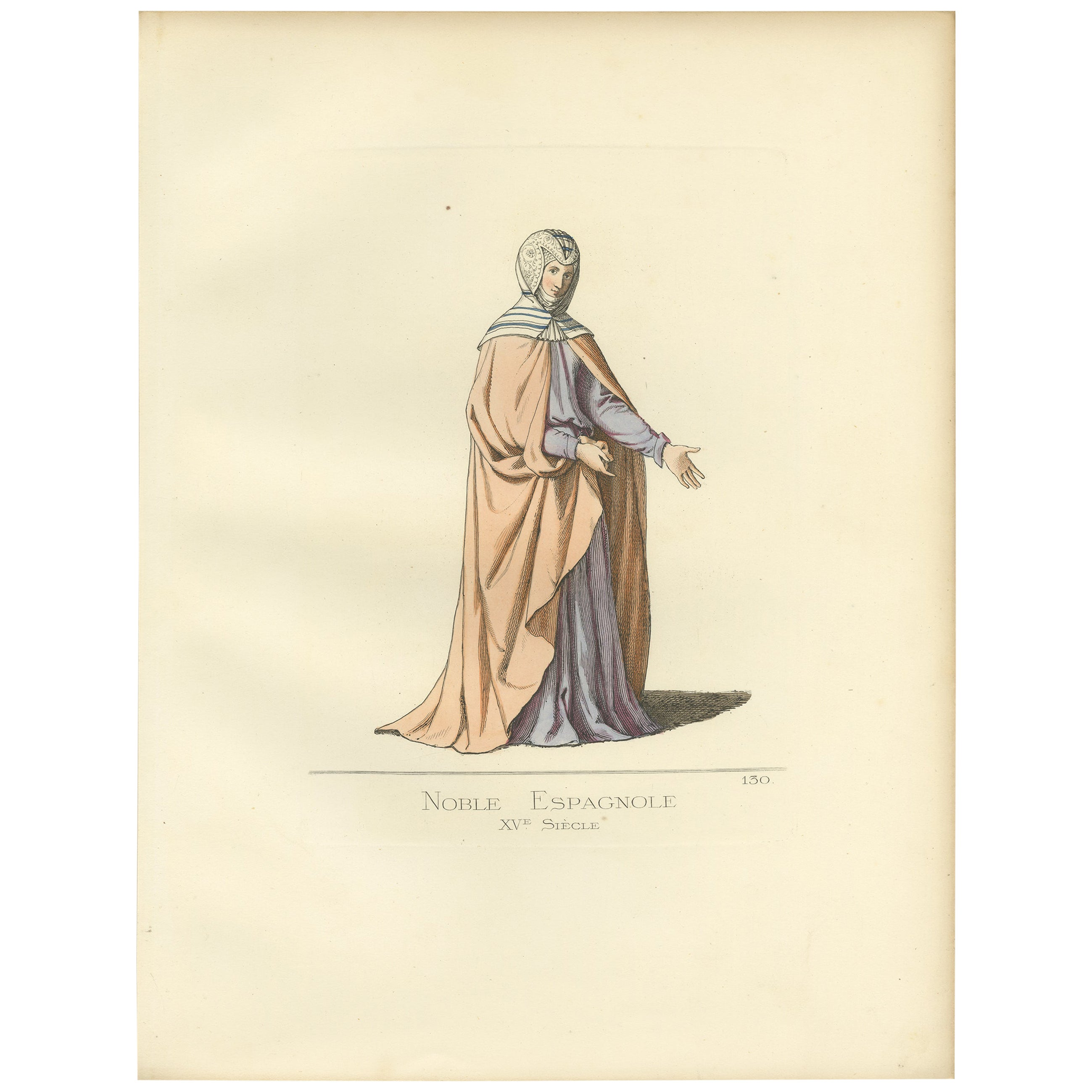 Antique Print of a Spanish Noblewoman, 15th Century, by Bonnard, 1860
