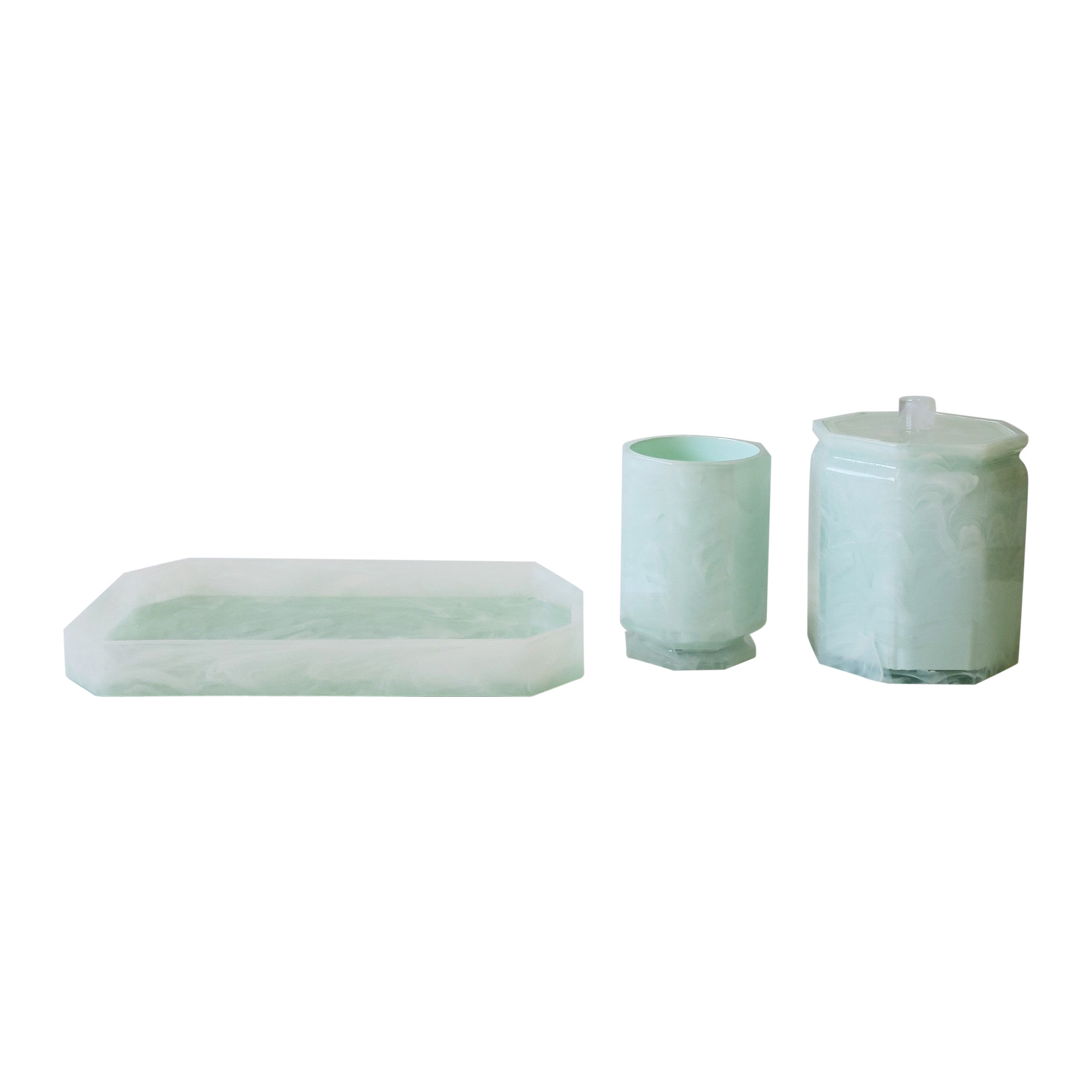 Marble Style Acrylic Desk or Vanity Tray Set in White and Green