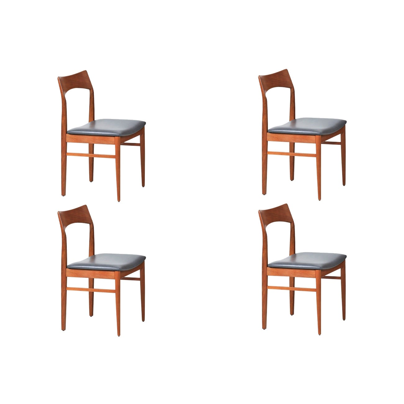 Henning Kjærnulf Teak & Leather Dining Chairs for Vejle Møbler