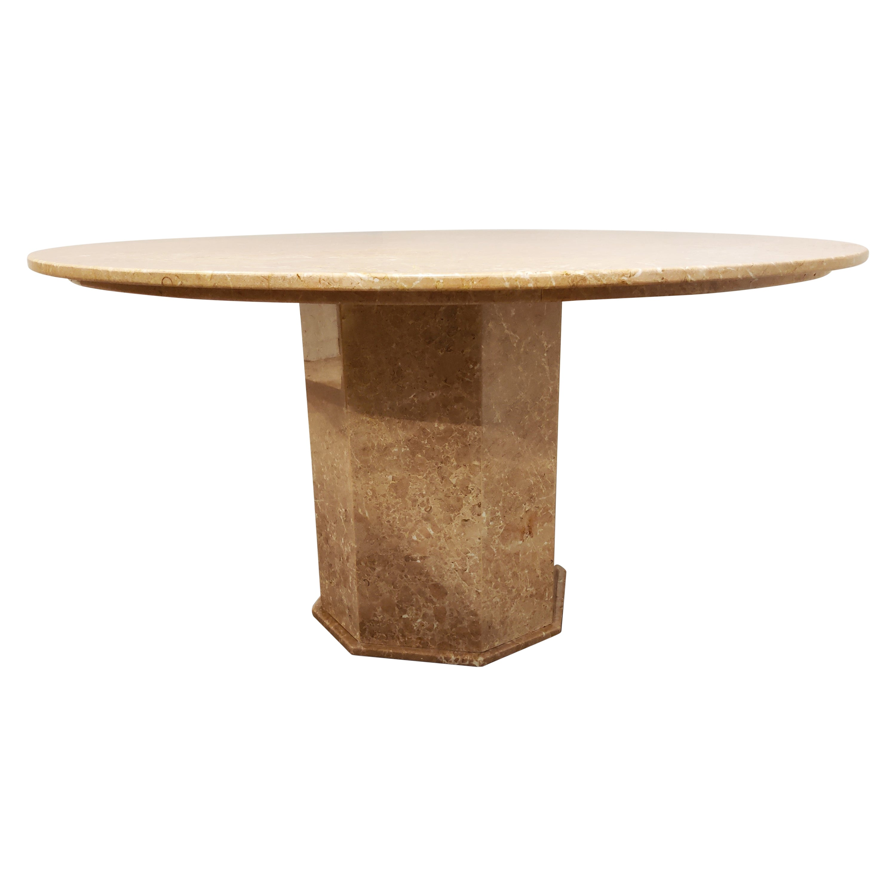 Round Italian Marble Dining Table, 1970s