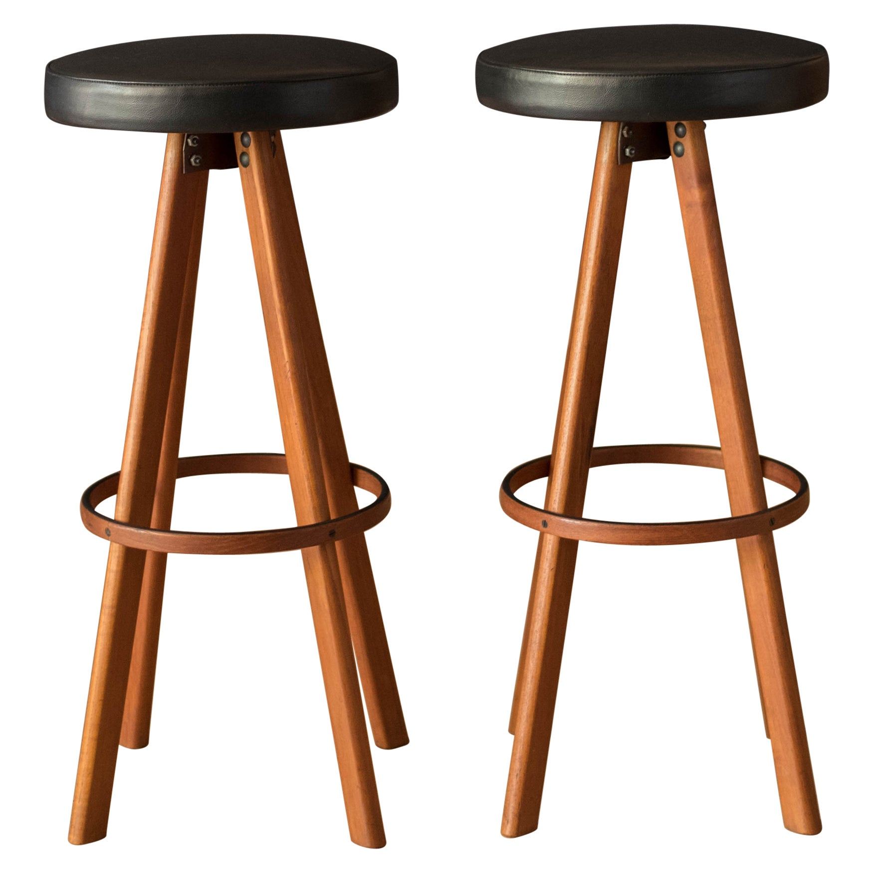 Vintage Pair of Danish Teak Bar & Counter Stools by Hans Olsen for Frem Rojle