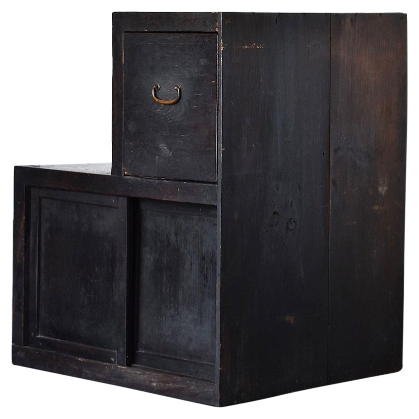 """Japanese Antique """"Black Staircase Chest"""" 'Late Edo Period-Meiji Period' /Cabinet"""