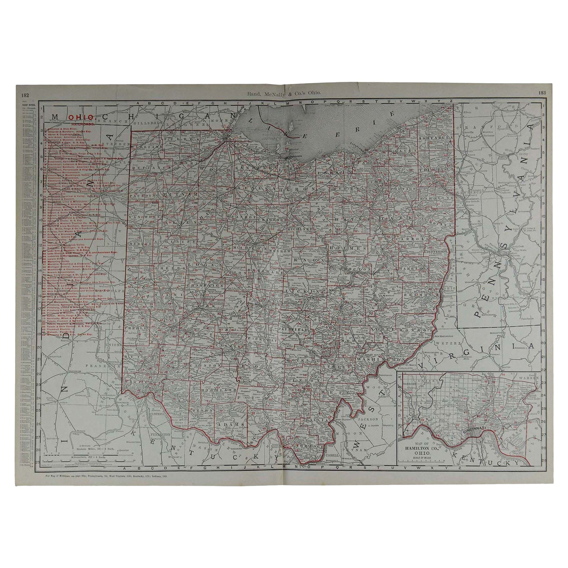 Large Original Antique Map of Ohio by Rand McNally, circa 1900