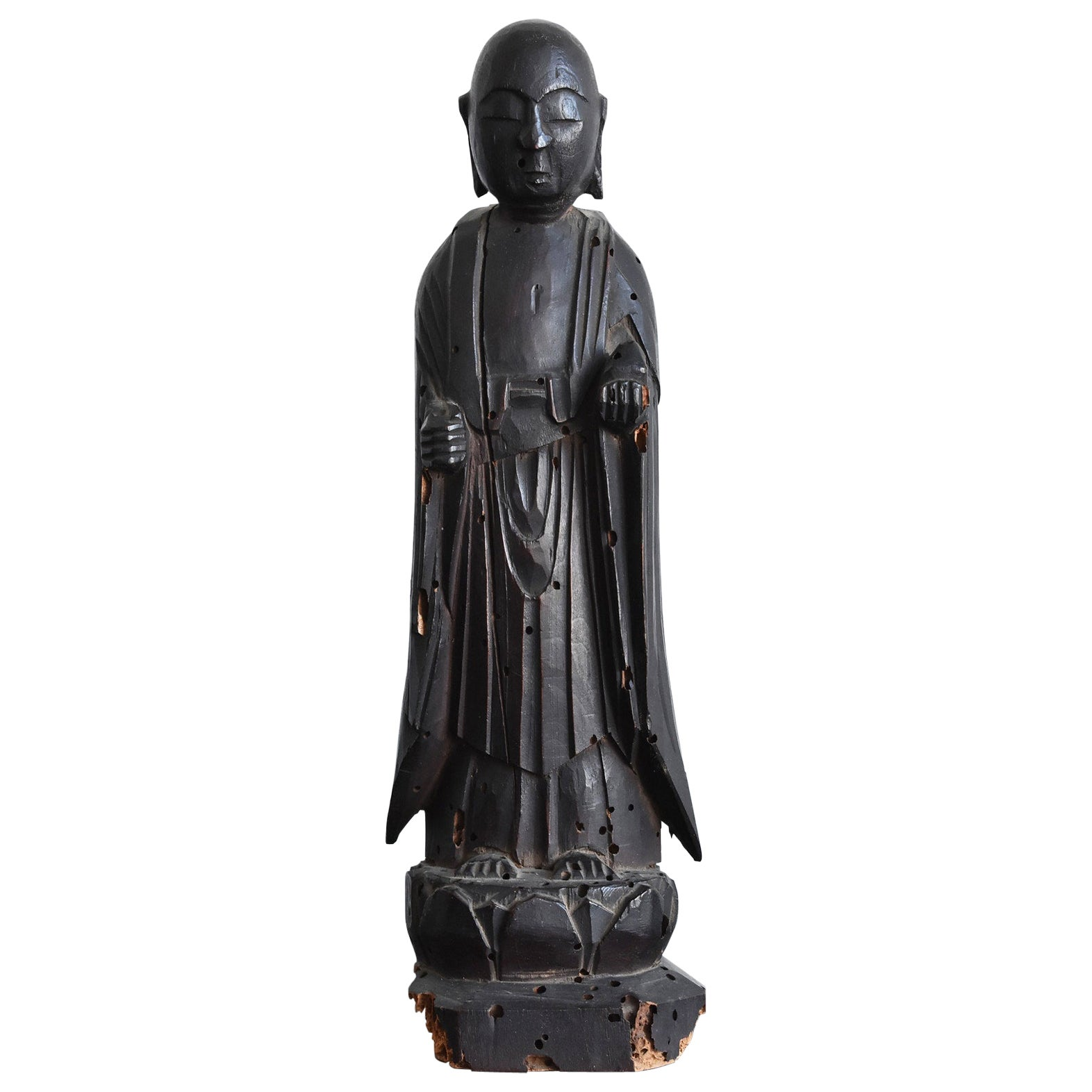 Wooden Buddha Statue from the Edo Period / Japanese Antique Figurine