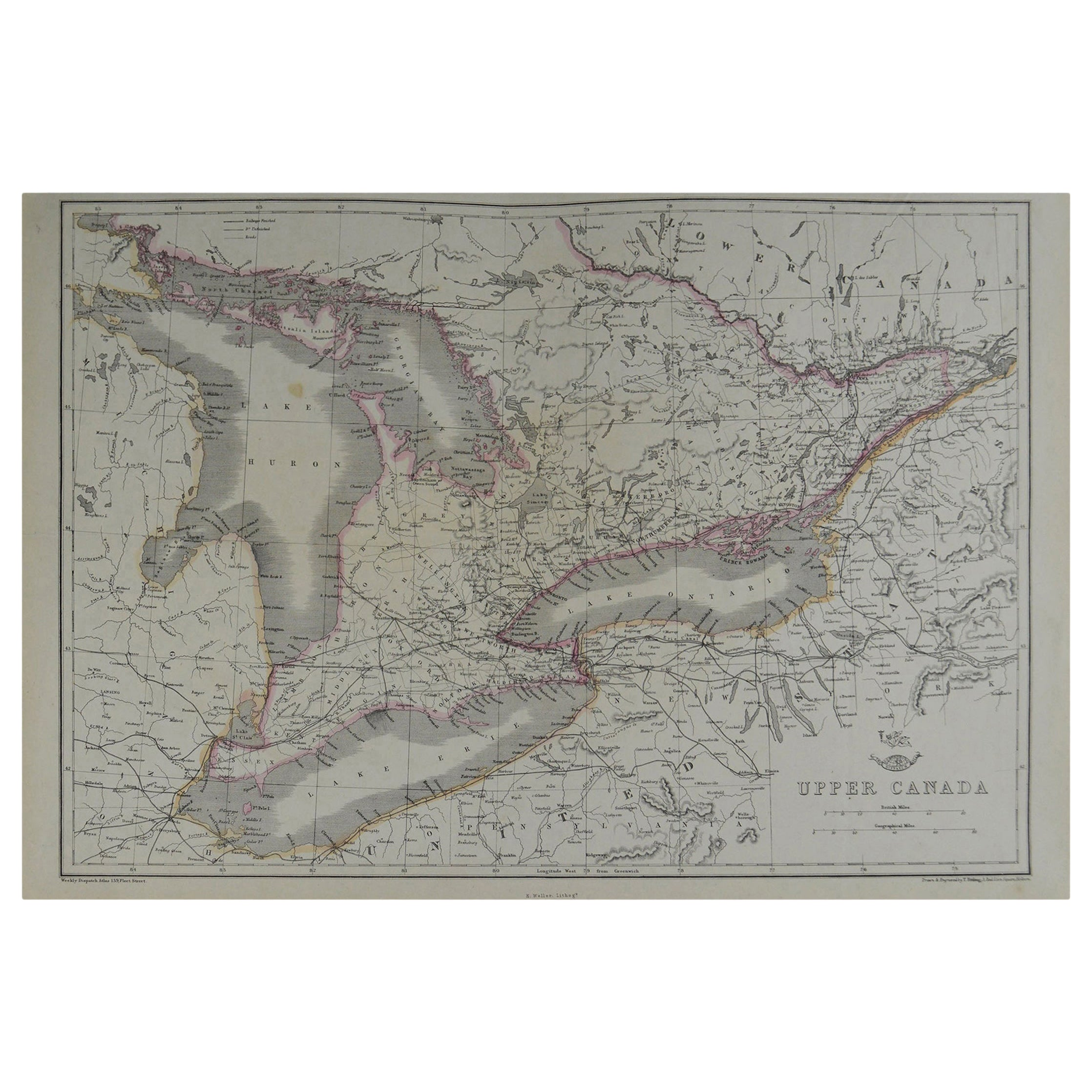 Original Antique Map of the Great Lakes, Canada by T. Ettling, 1861