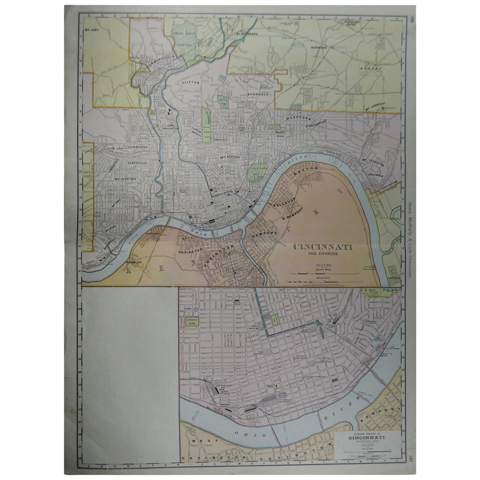 Large Original Antique City Plan of Cincinnati, USA, circa 1900