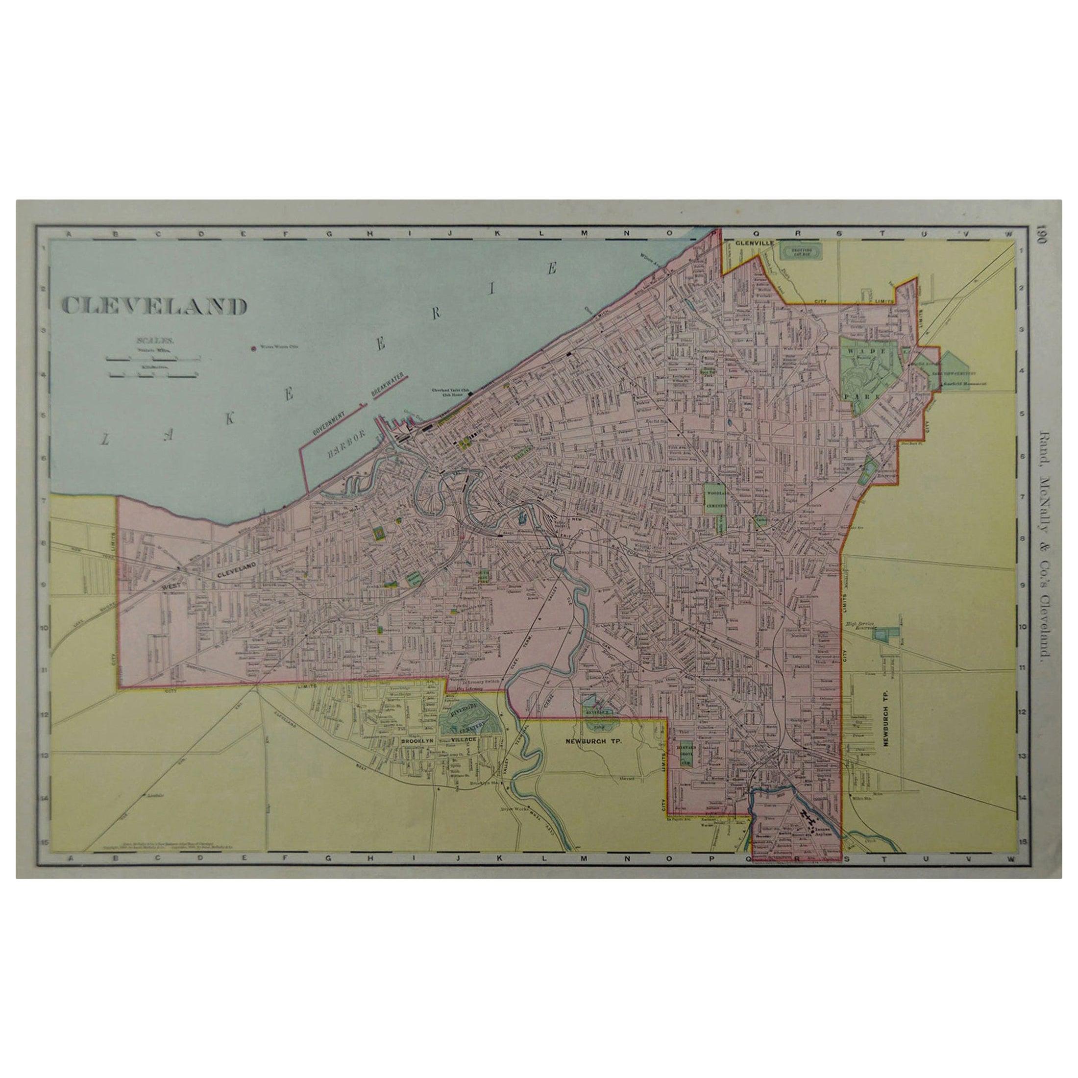 Original Antique City Plan of Cleveland, Ohio, USA, circa 1900