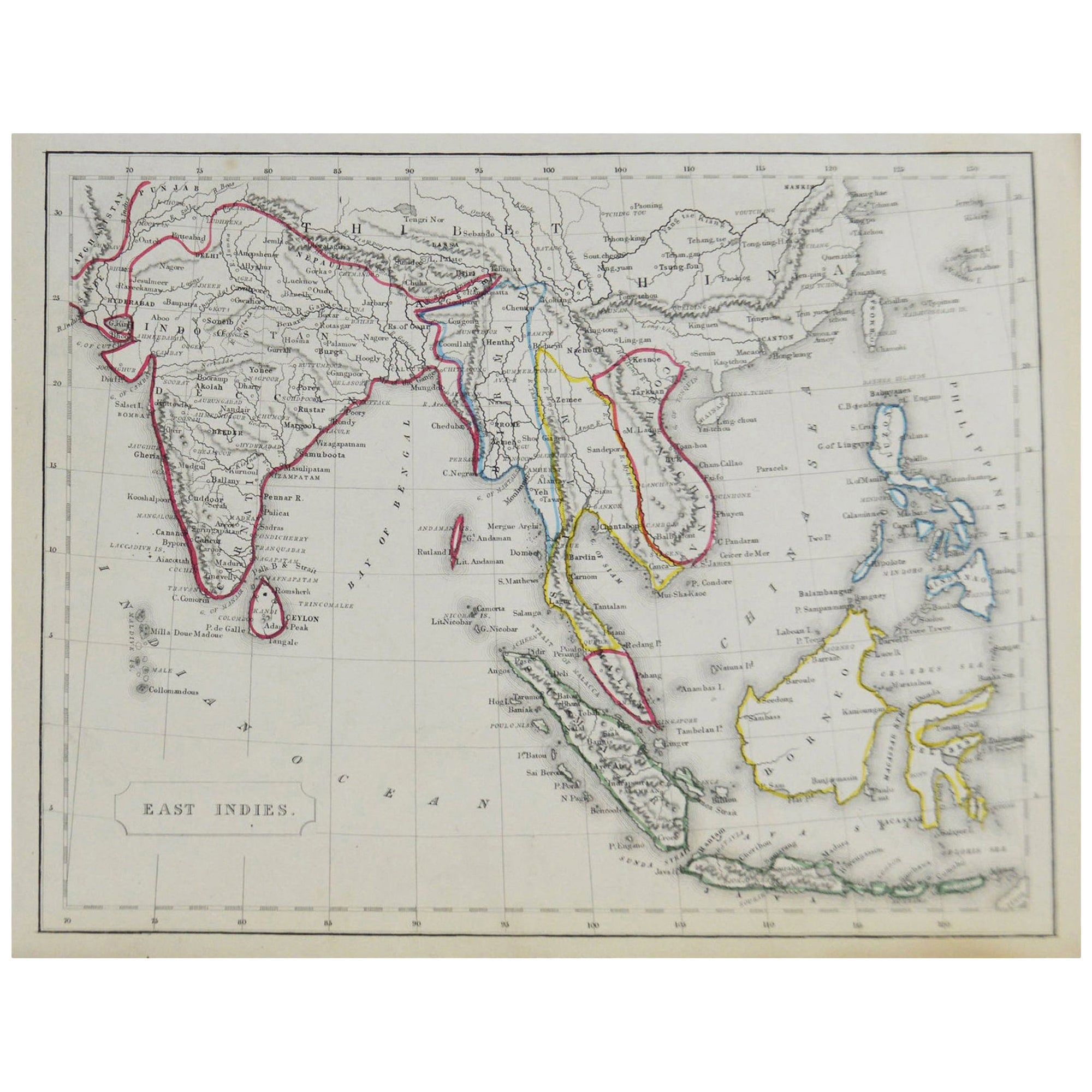 Original Antique Map of South East Asia by Becker, circa 1840
