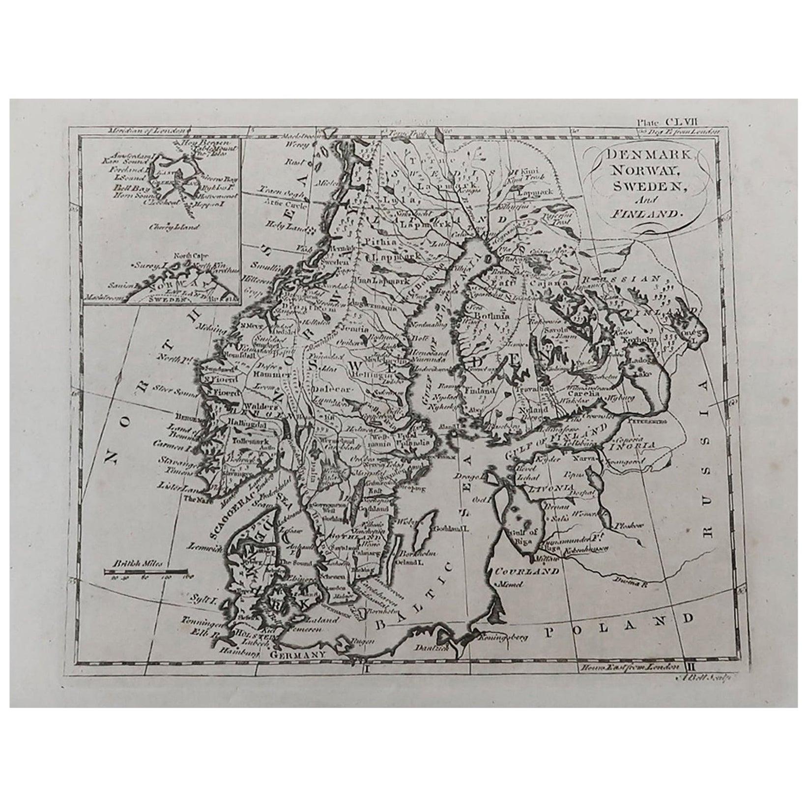 Original Antique Map of Sweden, Norway, Denmark and Finland, circa 1790