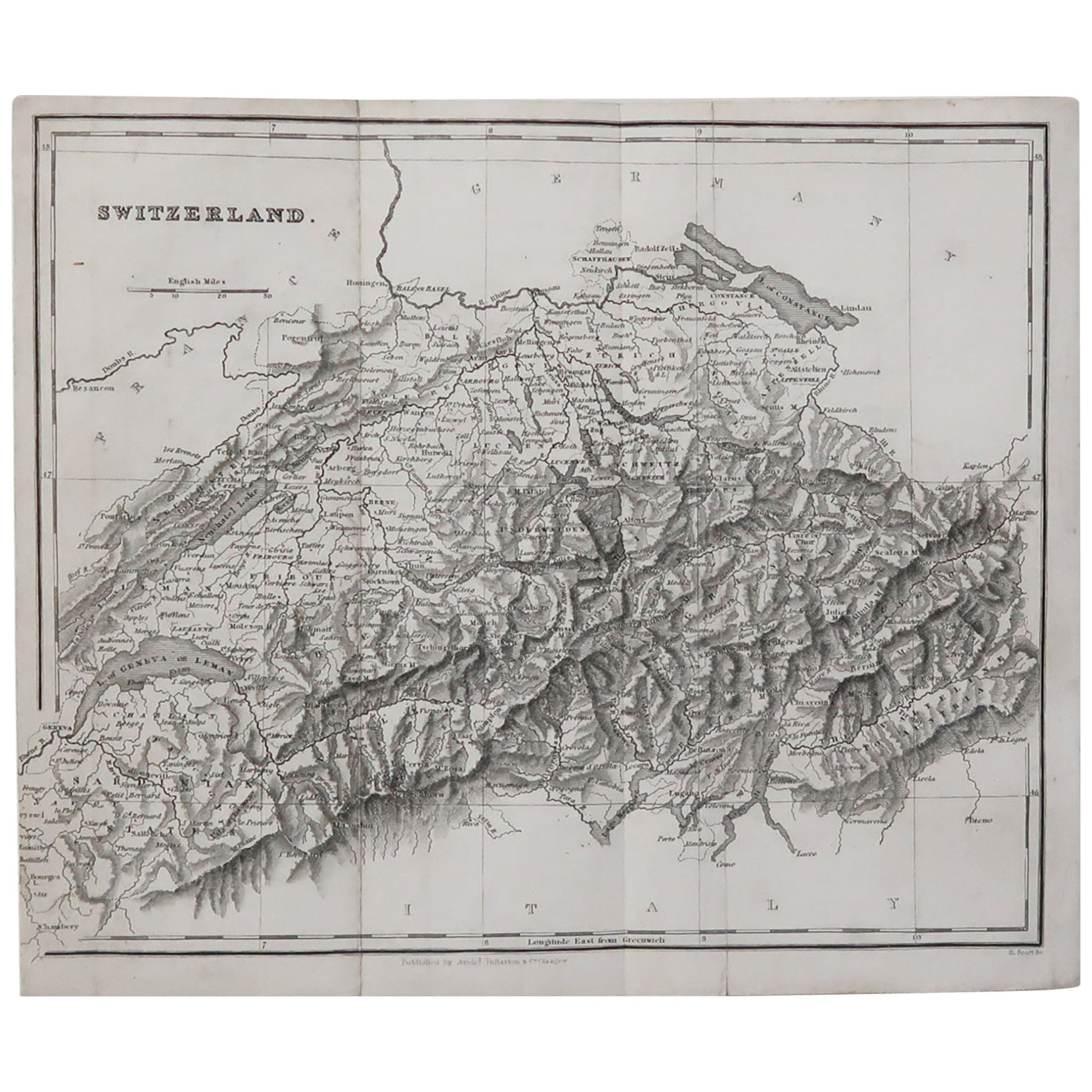 Original Antique Map of Switzerland, circa 1840