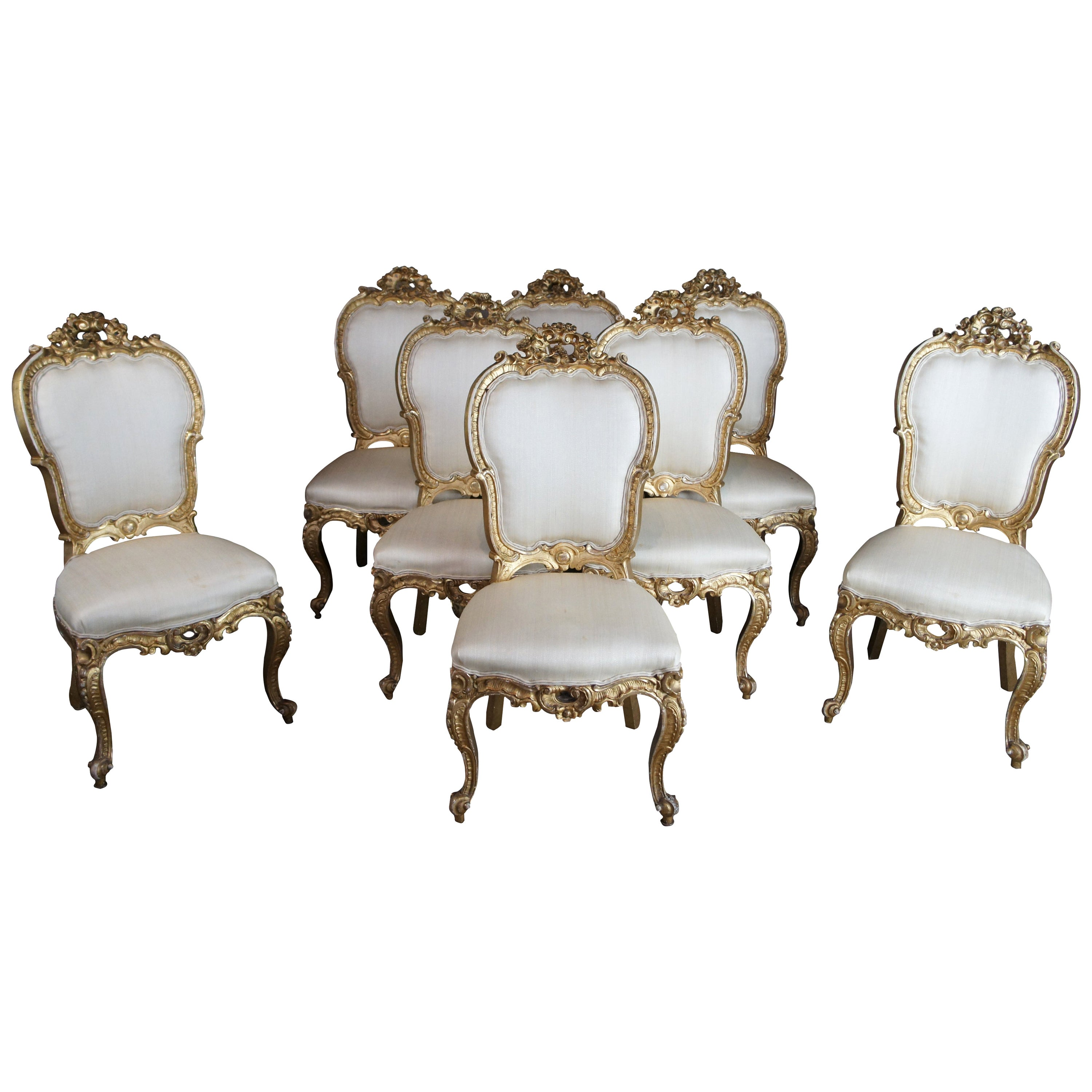 8 Antique Swedish 18th Century Baroque French Louis XV Rococo Gilt Dining Chairs