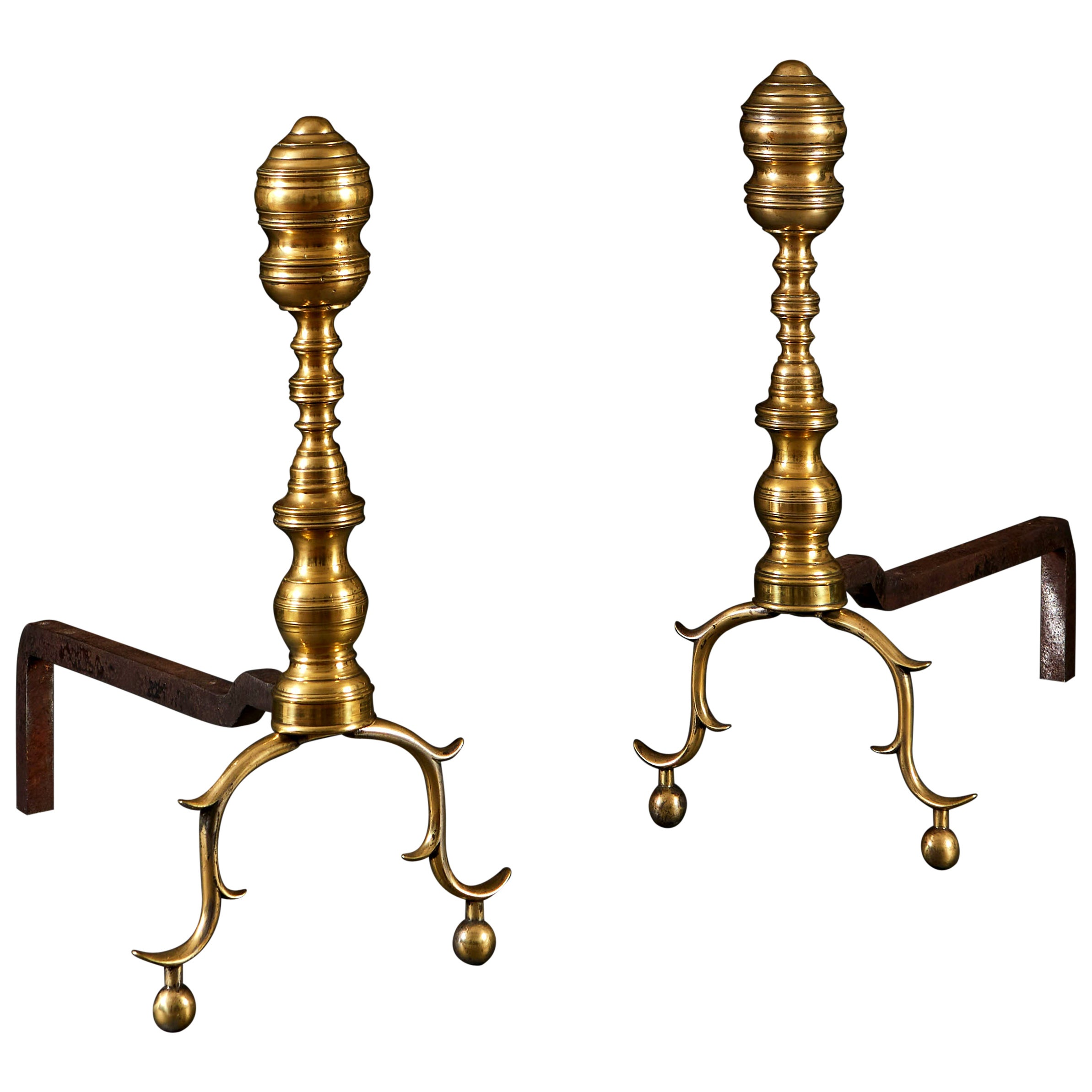 Pair of 19th Century American Brass Fire Dogs